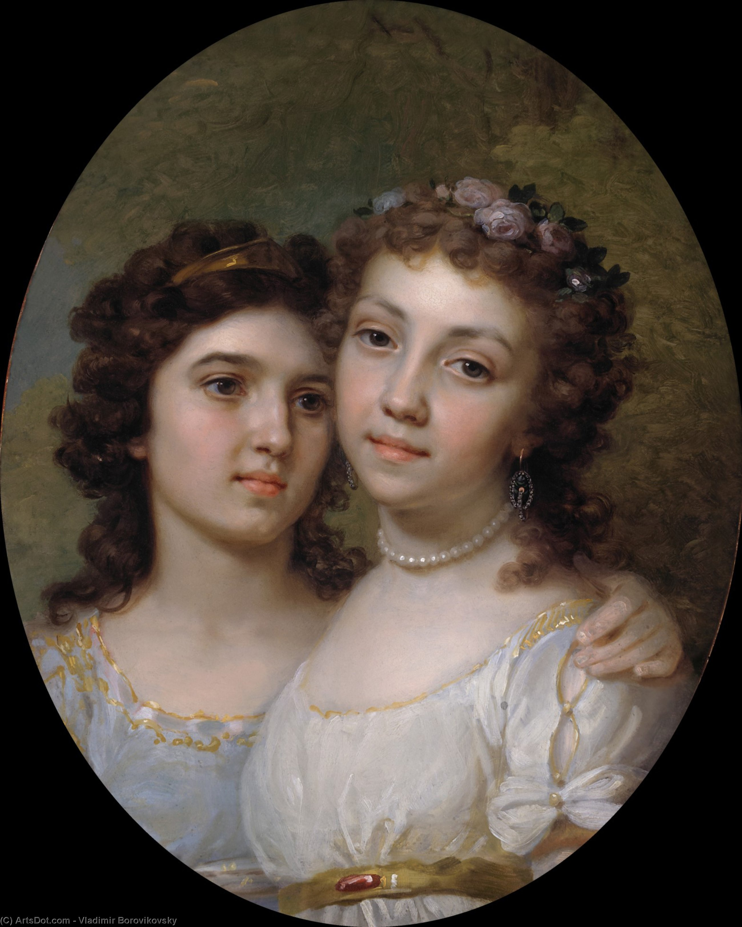 Lizanka and Dashenka, 1794 by Vladimir Lukich Borovikovsky (1757-1825) | Museum Quality Reproductions | ArtsDot.com