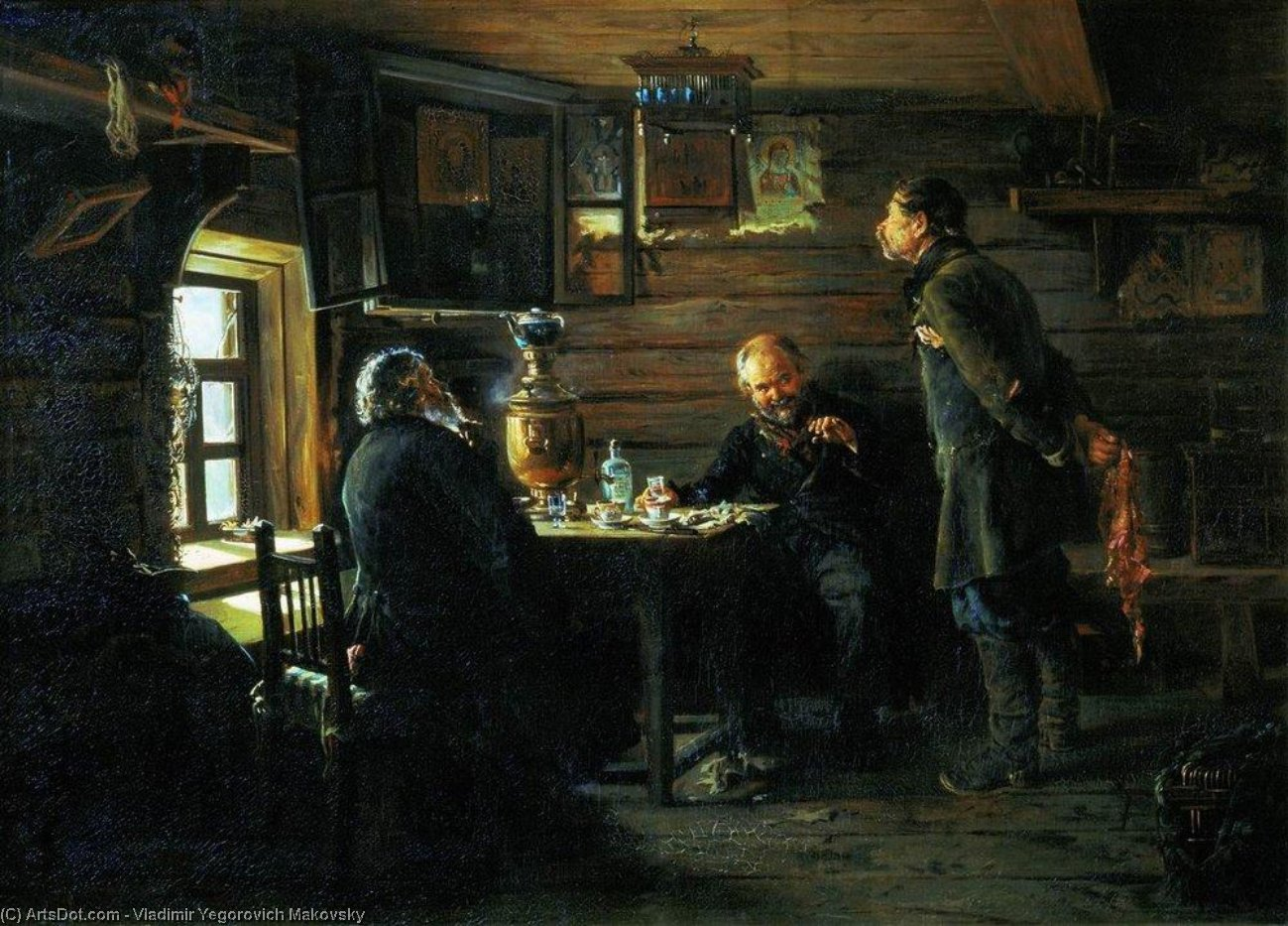 Fans of nightingales, 1873 by Vladimir Yegorovich Makovsky (1846-1920, Russia) | Museum Art Reproductions | ArtsDot.com