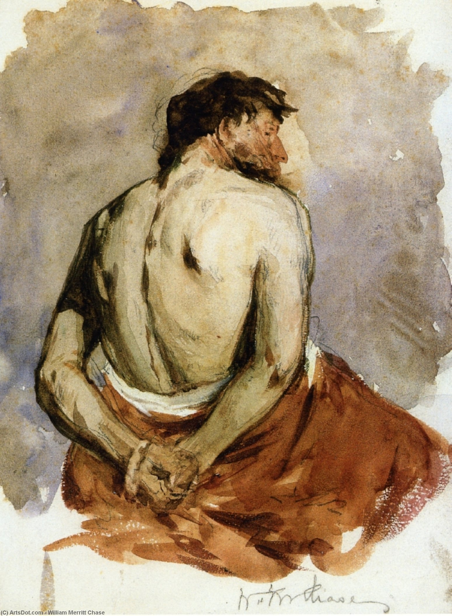 Back of a Male Figure, Watercolour by William Merritt Chase (1849-1916, United States)