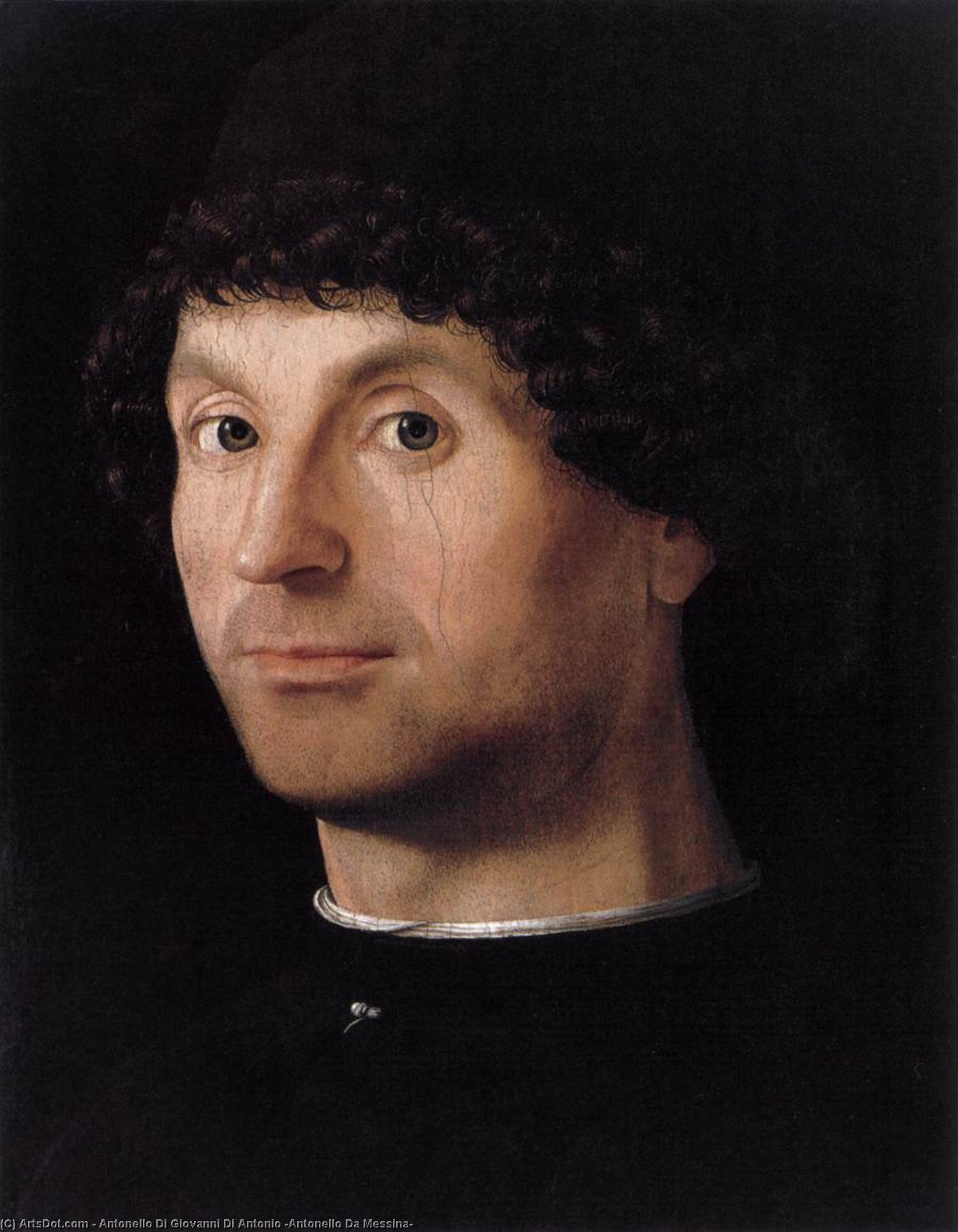 Portrait of a Man, Oil On Panel by Antonello Di Giovanni Di Antonio  (order Fine Art painting copy Antonello Di Giovanni Di Antonio (Antonello Da Messina))