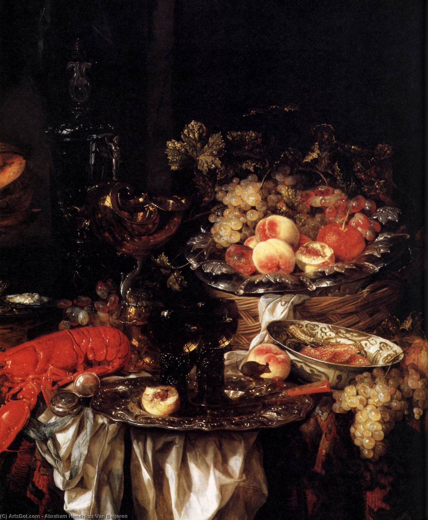 Banquet Still-Life with a Mouse (detail), Oil On Canvas by Abraham Hendriksz Van Beijeren (1620-1690, Netherlands)