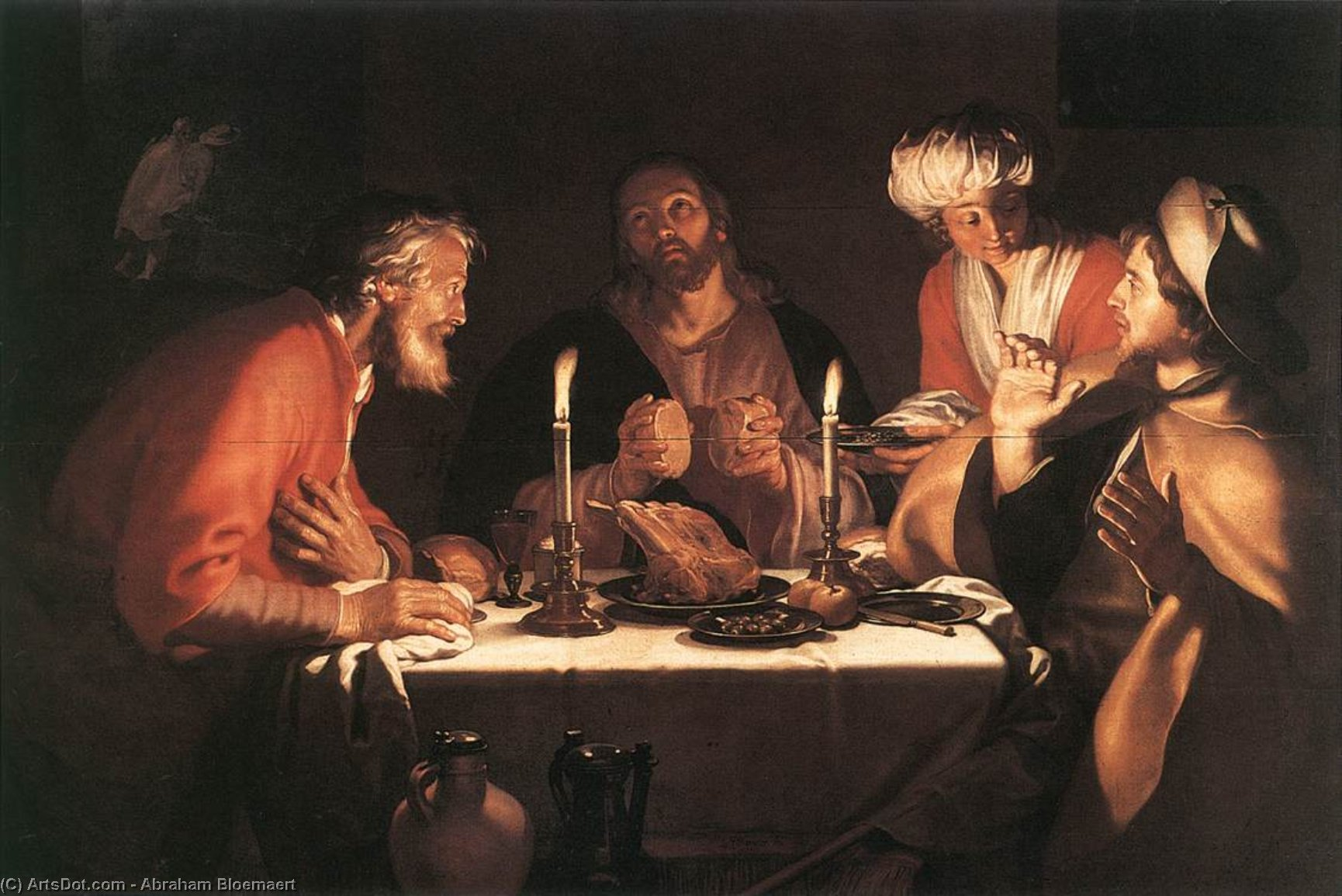 The Emmaus Disciples, Oil by Abraham Bloemaert (1564-1651, Netherlands)