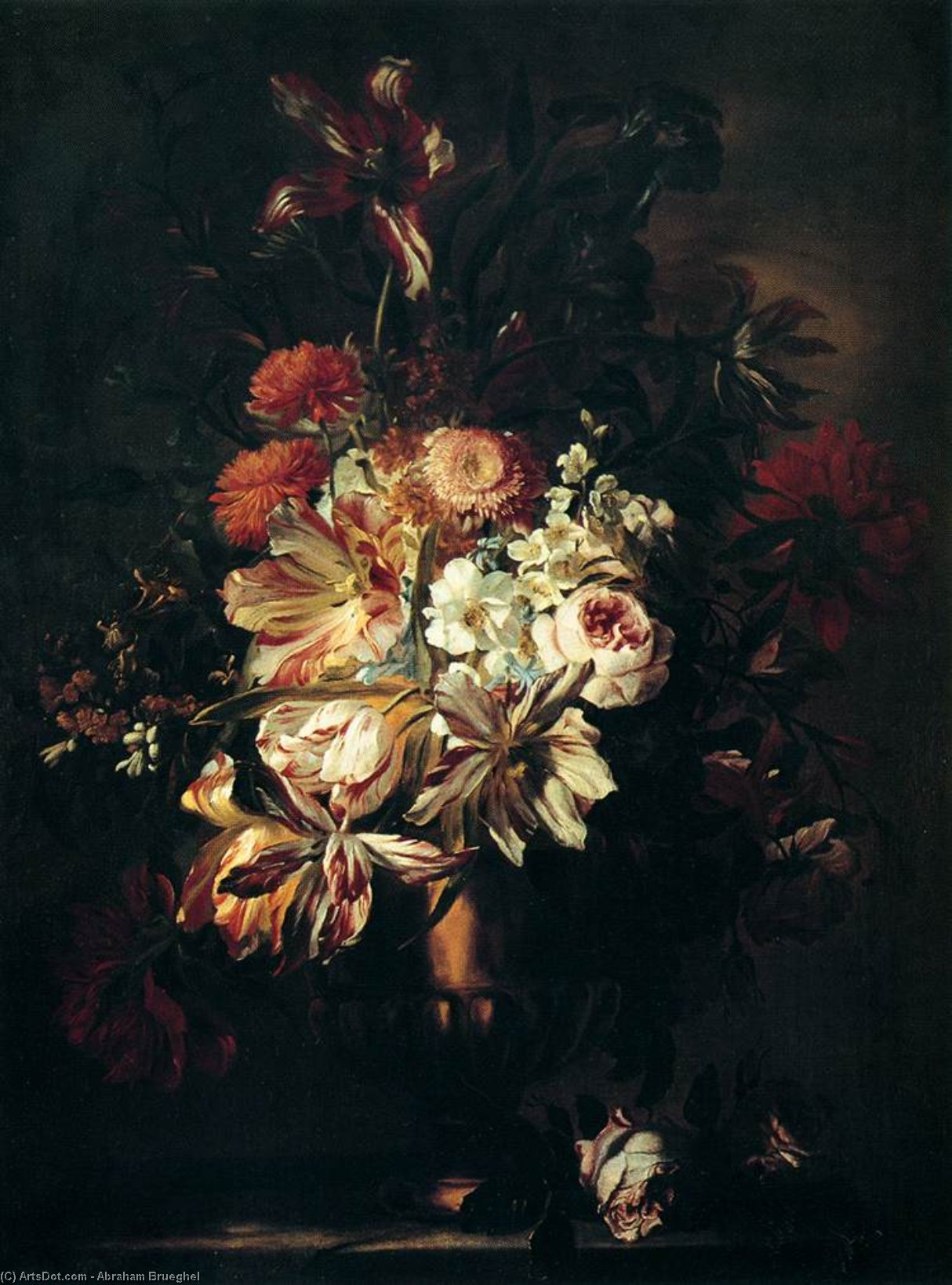 Flowers in a Bronze Vase, Oil On Canvas by Abraham Brueghel (1631-1690, Belgium)
