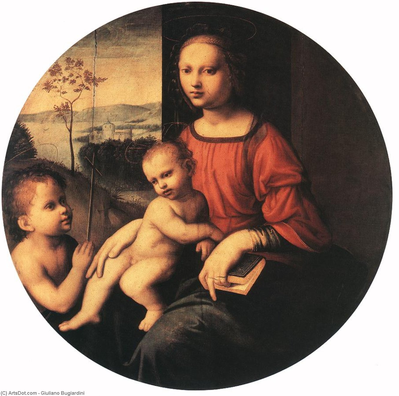 Virgin and Child with the Infant St John the Baptist, Oil by Giuliano Bugiardini (1475-1555, Italy)