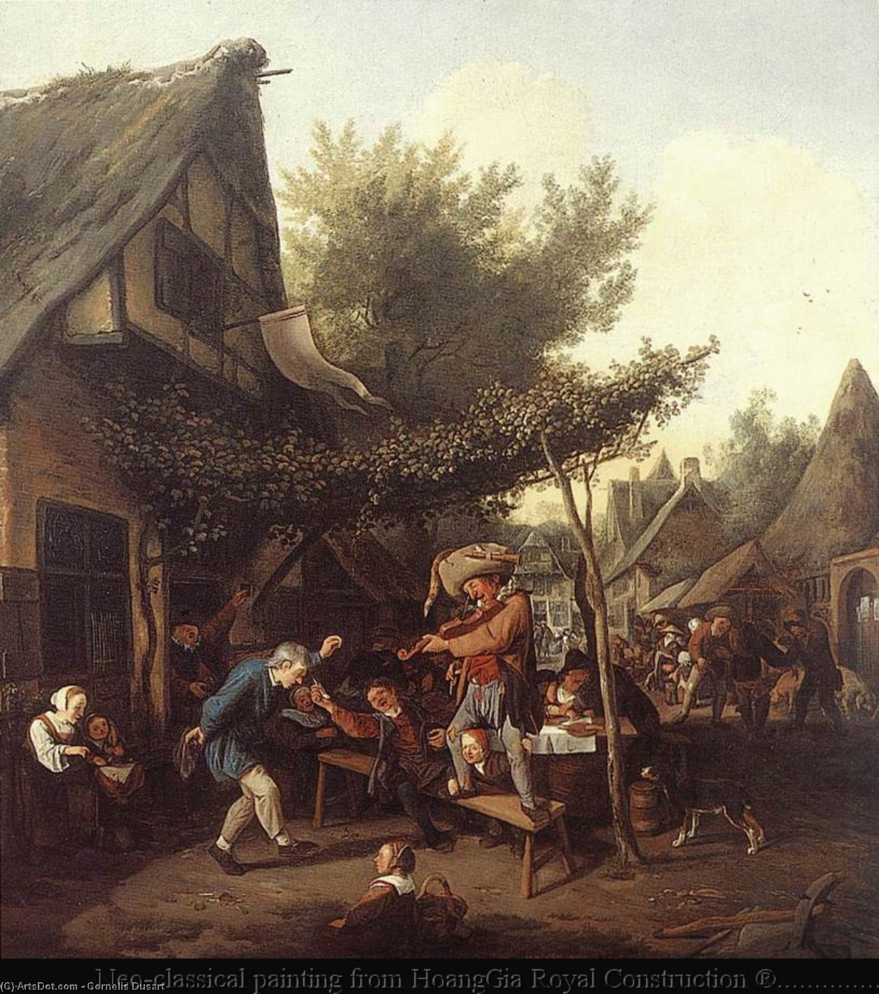 Village Feast, Oil On Canvas by Cornelis Dusart (1660-1704, Netherlands)