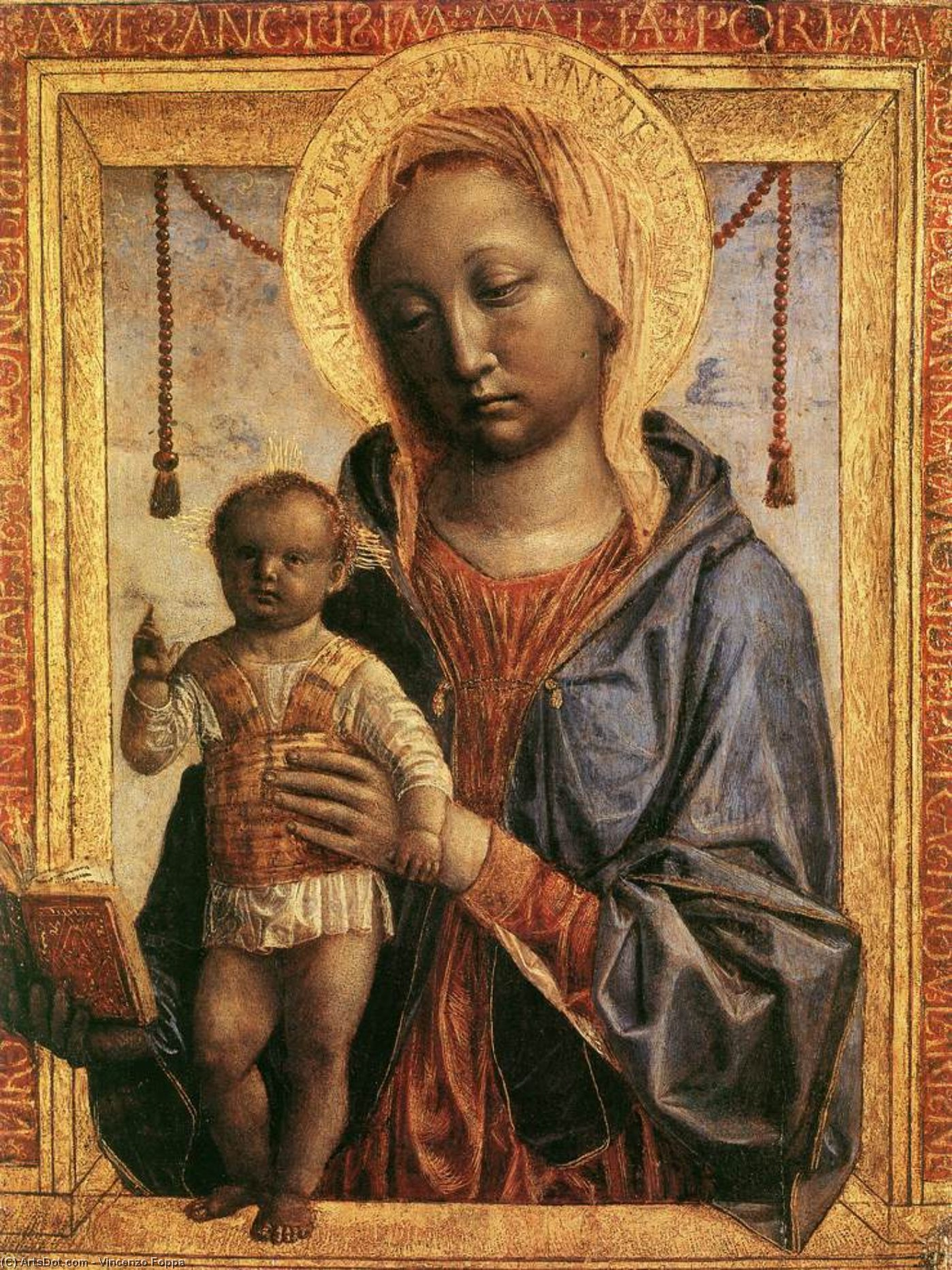 Madonna of the Book, Wood by Vincenzo Foppa (1427-1515, Italy)