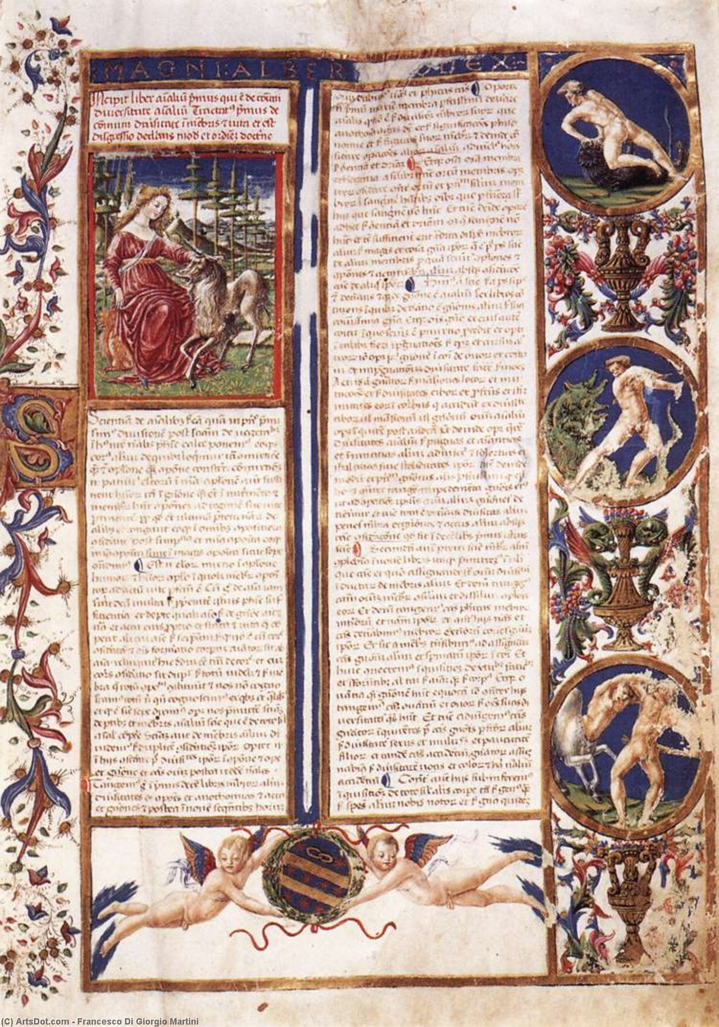 Order Paintings Reproductions | First page of the Codex De Animalibus, 1463 by Francesco Di Giorgio Martini (1439-1502, Italy) | ArtsDot.com