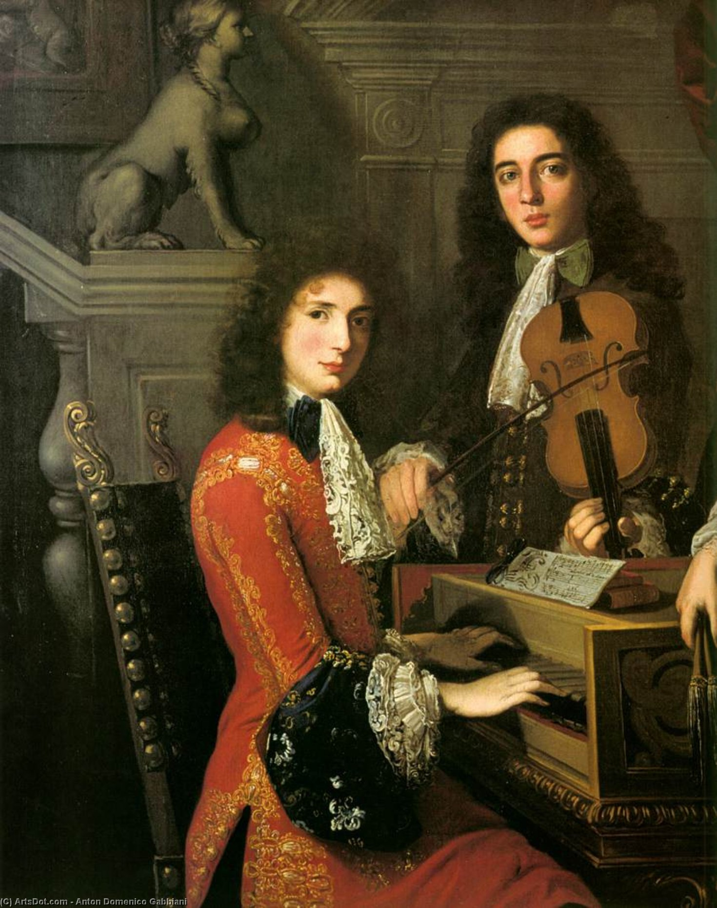 Portrait of Three Musicians of the Medici Court (detail), 1687 by Anton Domenico Gabbiani (1652-1726, Italy) | Painting Copy | ArtsDot.com