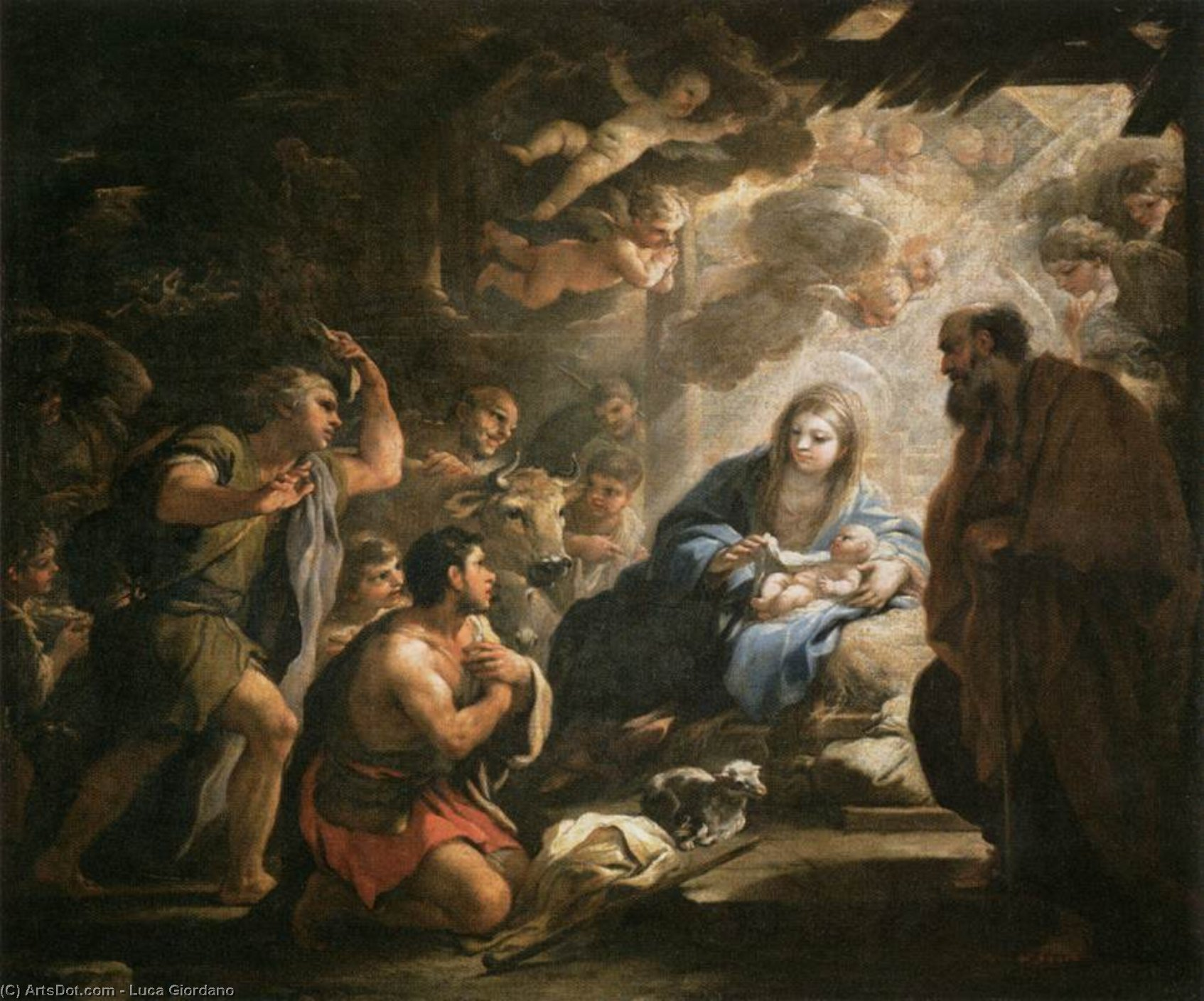 Adoration of the Shepherds, Oil On Canvas by Luca Giordano (1634-1705, Italy)