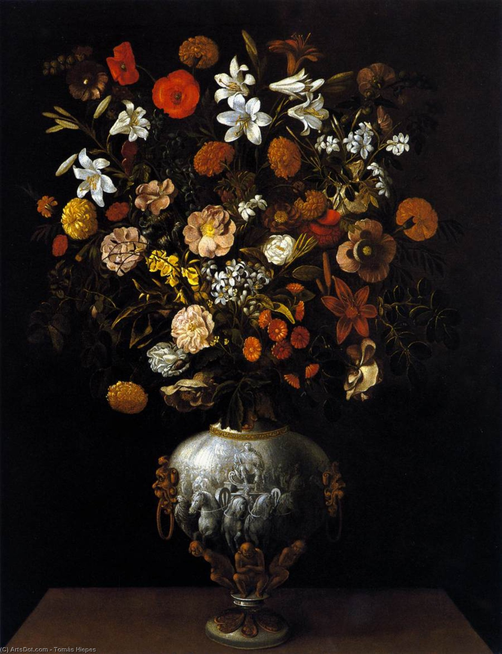 Buy Museum Art Reproductions : Vase of Flowers, 1646 by Tomàs Yepes (1595-1674) | ArtsDot.com