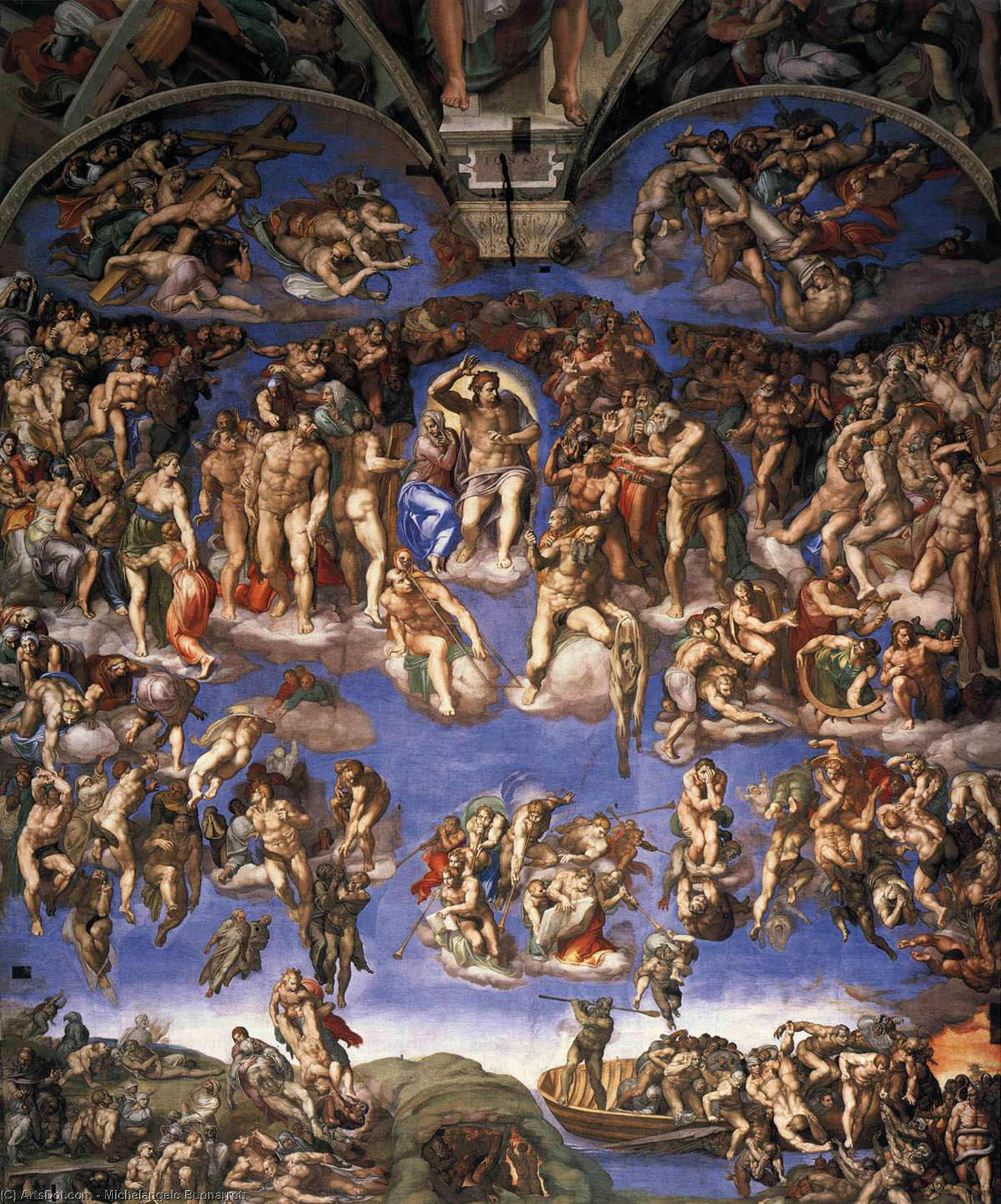 Last Judgment, 1537 by Michelangelo Buonarroti (1475-1564, Italy) | Museum Art Reproductions Michelangelo Buonarroti | ArtsDot.com