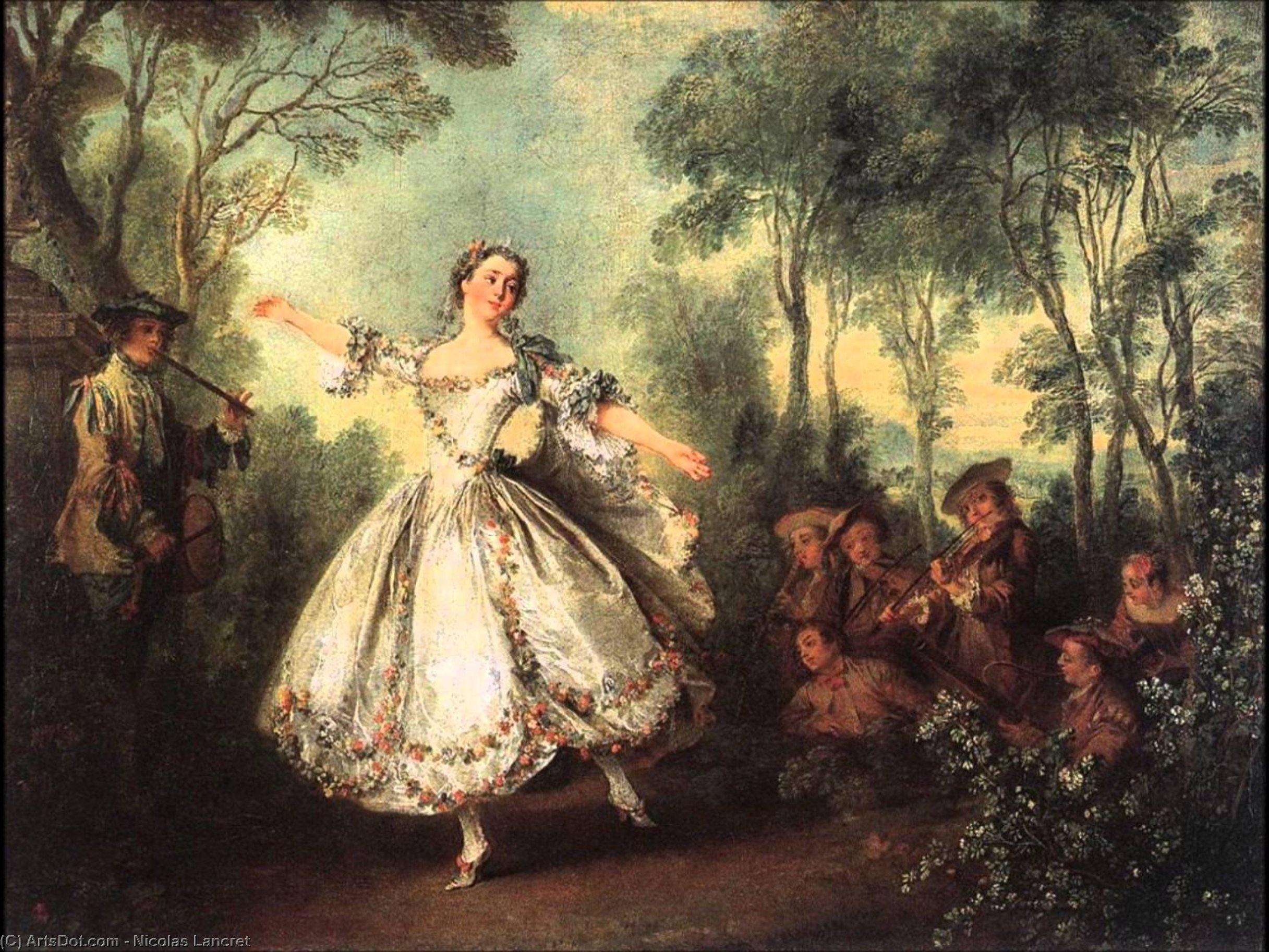 Mademoiselle de Camargo Dancing, Oil On Canvas by Nicolas Lancret (1690-1743, France)