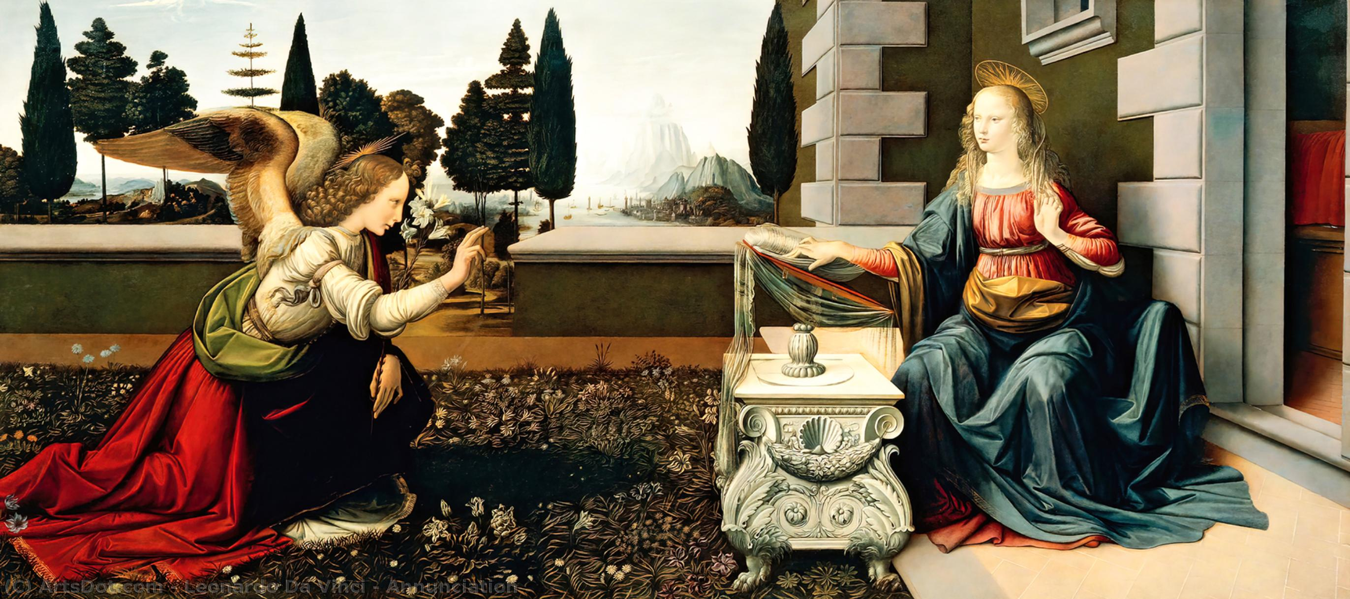 Order Art Reproduction : Annunciation, 1472 by Leonardo Da Vinci (1452-1519, Italy) | ArtsDot.com
