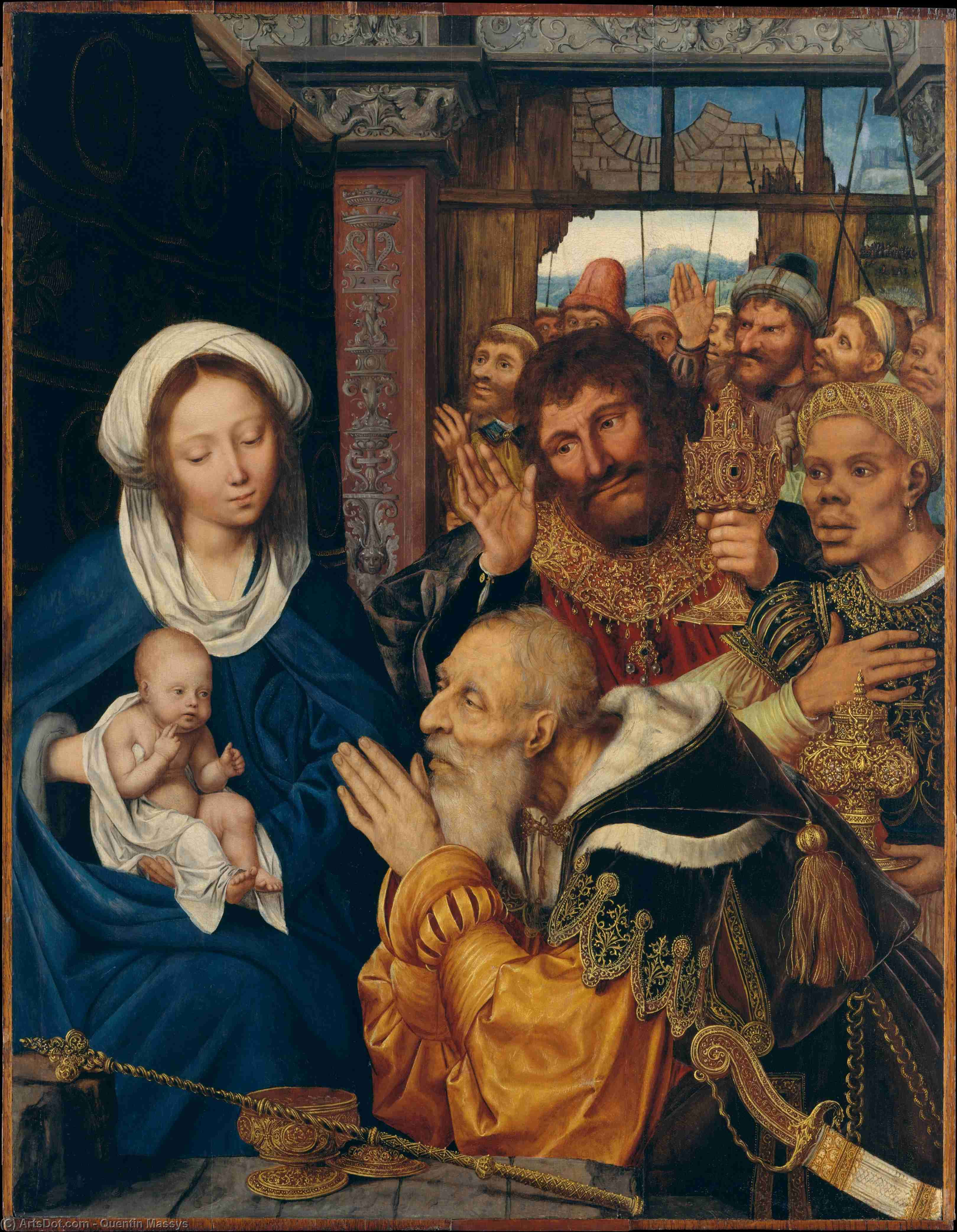 The Adoration of the Magi, Tempera by Quentin Massys (1466-1530, Belgium)