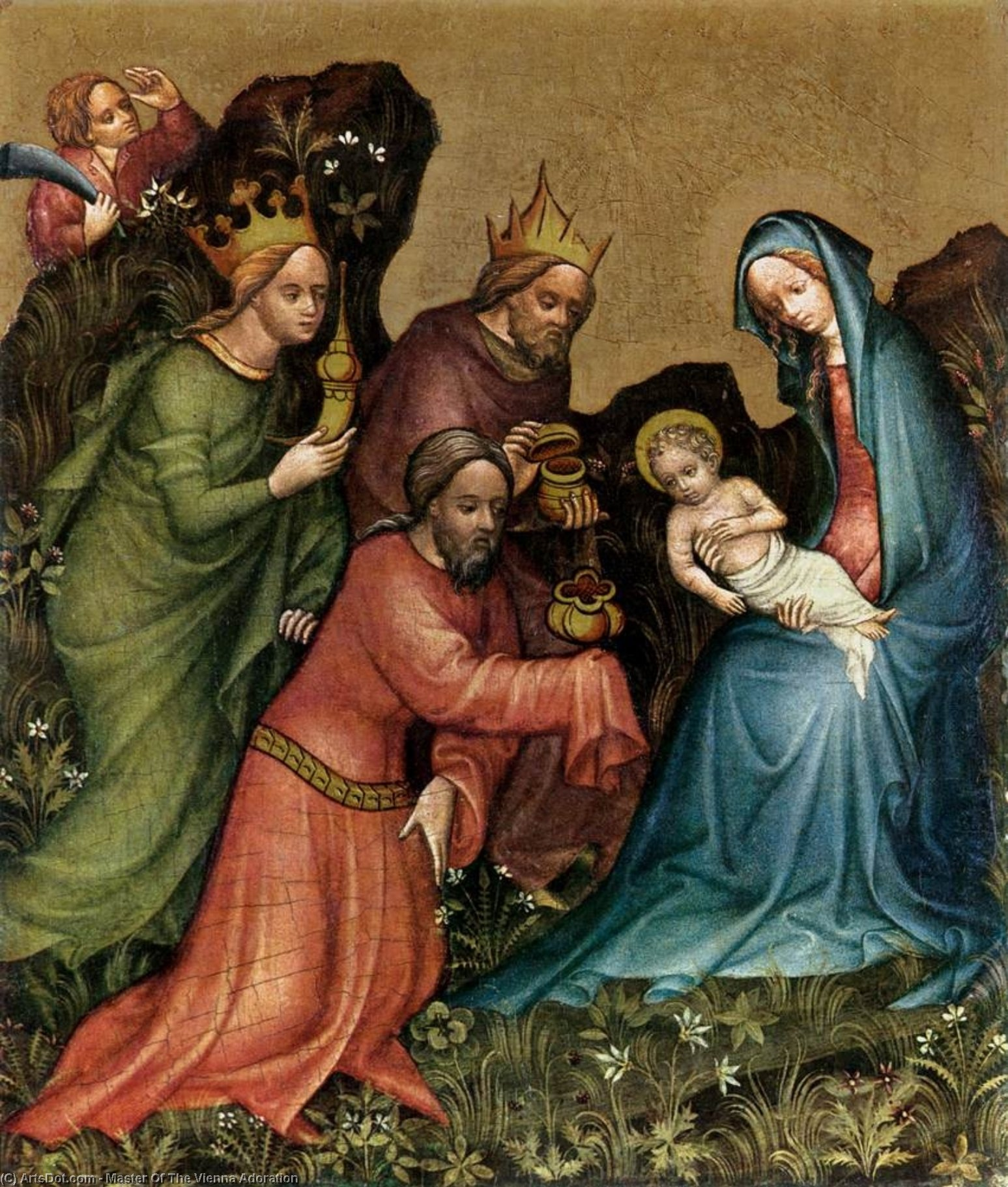 Order Reproductions | Adoration, 1410 by Master Of The Vienna Adoration | ArtsDot.com