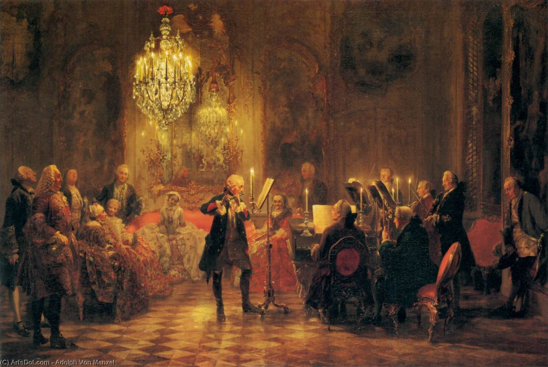 A Flute Concert of Frederick the Great at Sanssouci, 1852 by Adolph Menzel (1815-1905, Poland) | ArtsDot.com