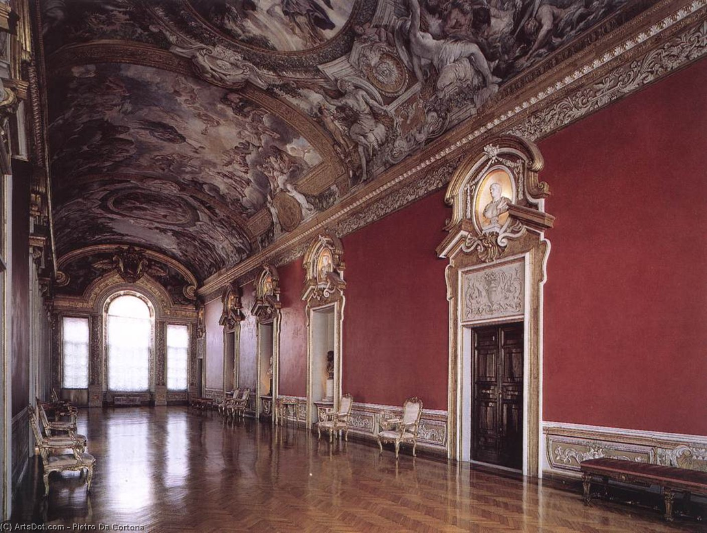 View of the Galleria Pamphilj, Frescoes by Pietro Da Cortona (1596-1669, Italy)