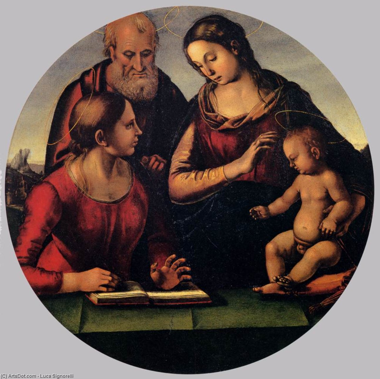 The Holy Family with Saint, Oil by Luca Signorelli (1450-1523, Italy)