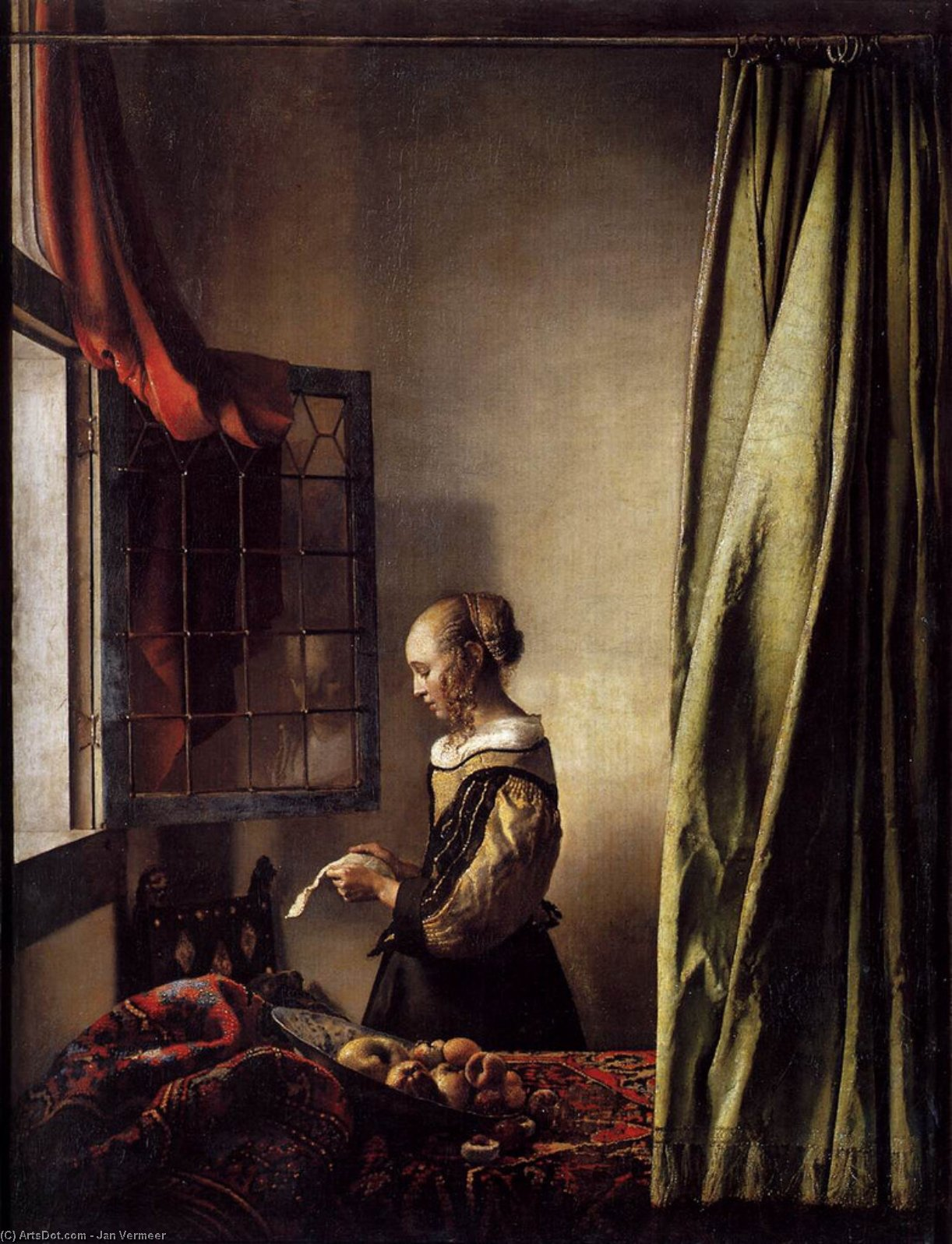 Girl Reading a Letter at an Open Window, 1657 by Jan Vermeer (1632-1675, Netherlands) | Oil Painting | ArtsDot.com