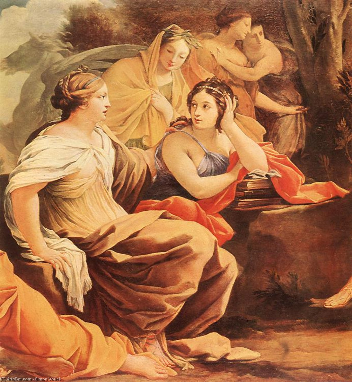 Parnassus or Apollo and the Muses (detail), Oil On Panel by Simon Vouet (1590-1649, France)