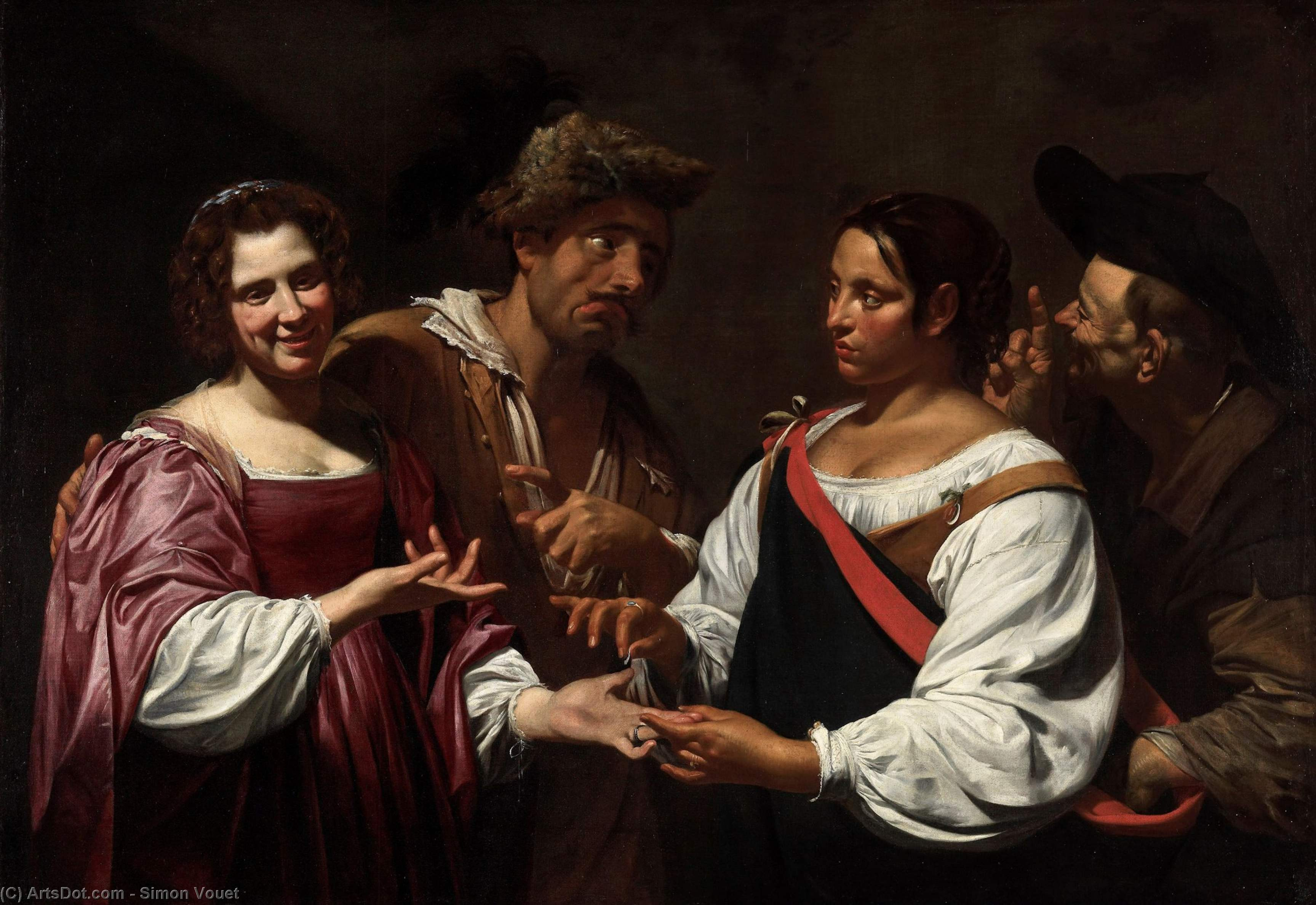 The Fortune Teller, Oil On Canvas by Simon Vouet (1590-1649, France)