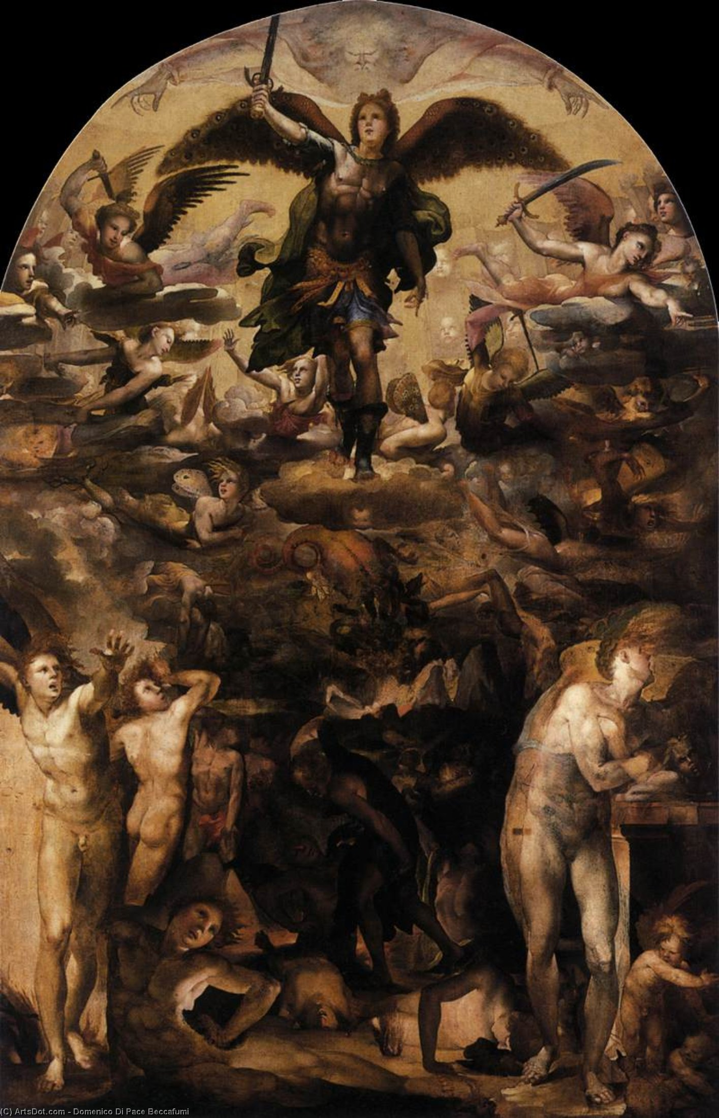 Fall of the Rebel Angels, Oil by Domenico Di Pace Beccafumi (1486-1551, Italy)