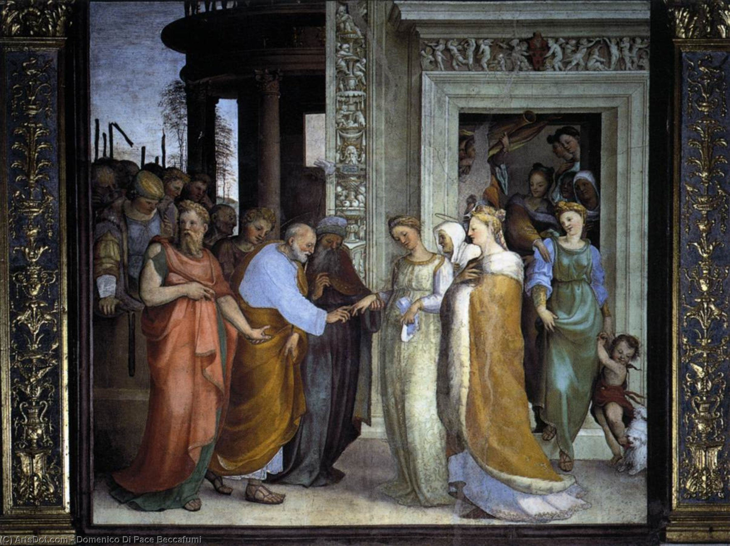 The Betrothal of the Virgin, Frescoes by Domenico Di Pace Beccafumi (1486-1551, Italy)