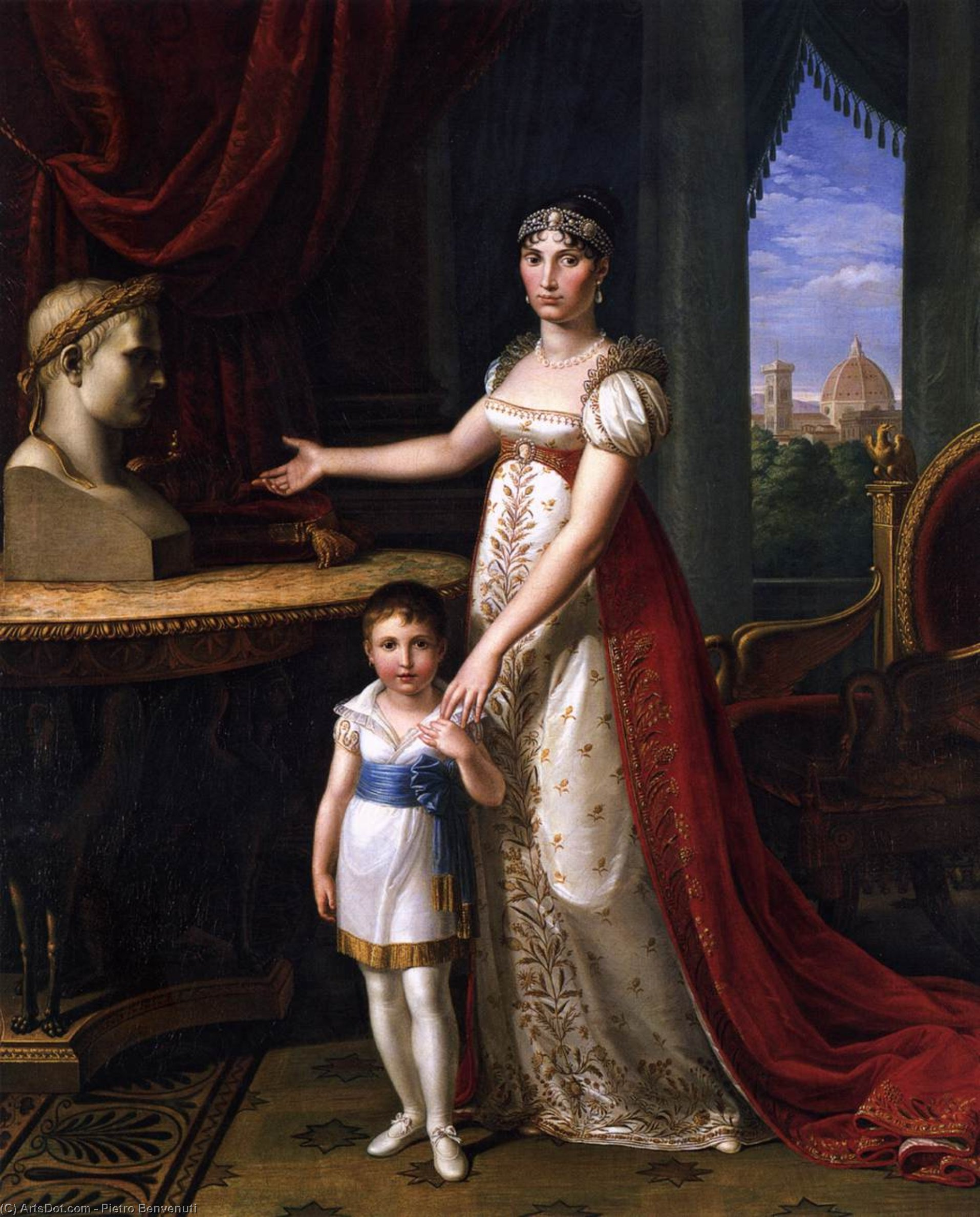 Elisa Bonaparte and Her Daughter, Oil On Canvas by Pietro Benvenuti (1769-1844, Italy)
