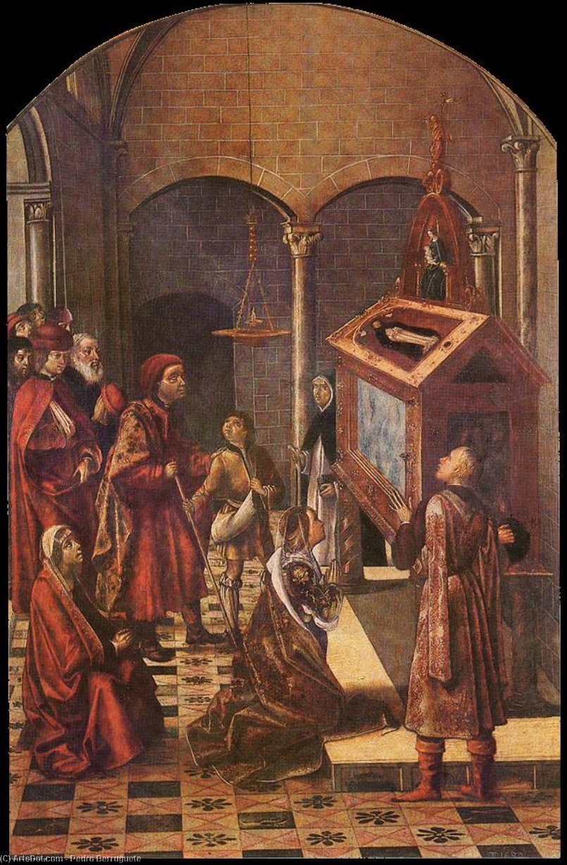 The Tomb of Saint Peter Martyr, Oil by Pedro Berruguete (1450-1504, Spain)