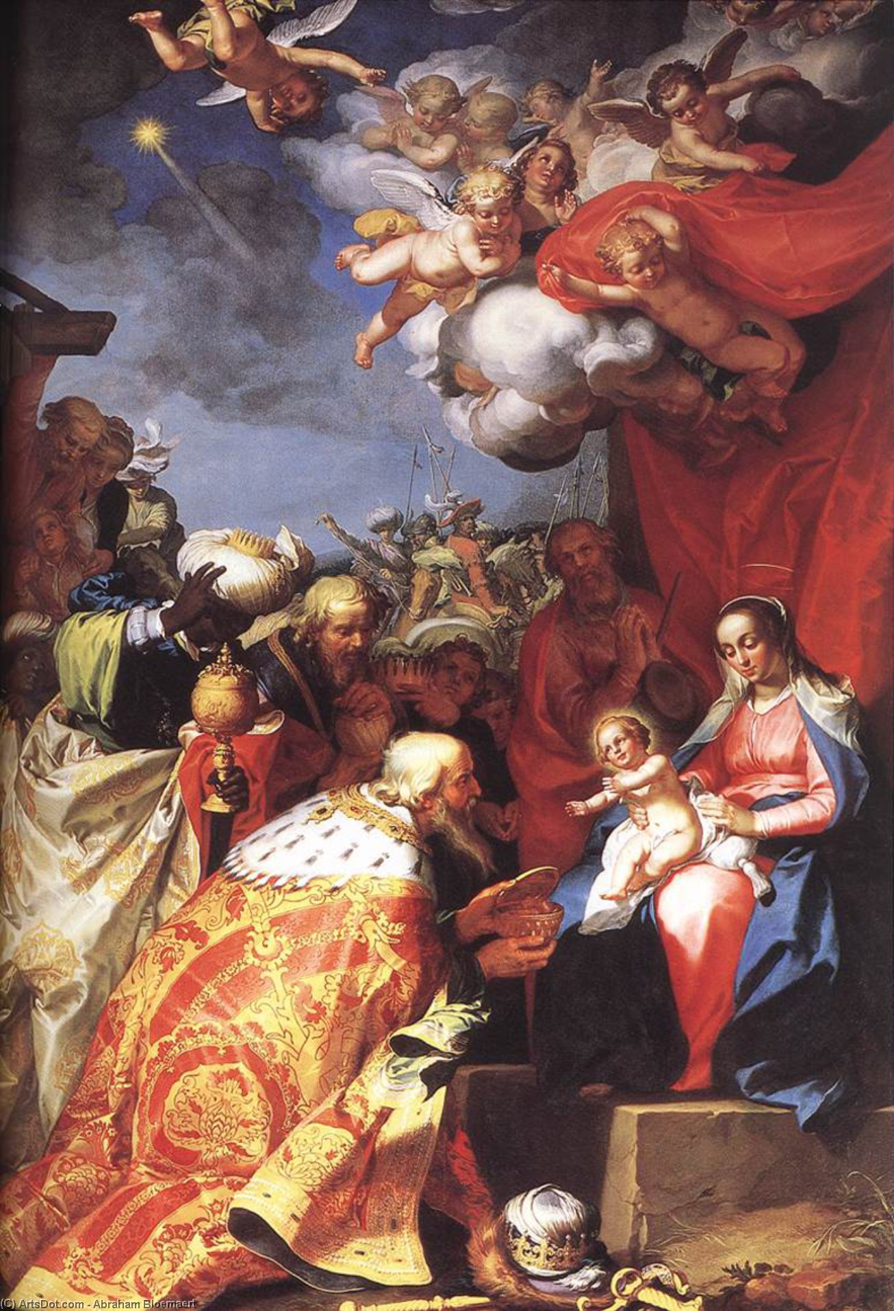 Adoration of the Magi, Oil On Canvas by Abraham Bloemaert (1564-1651, Netherlands)