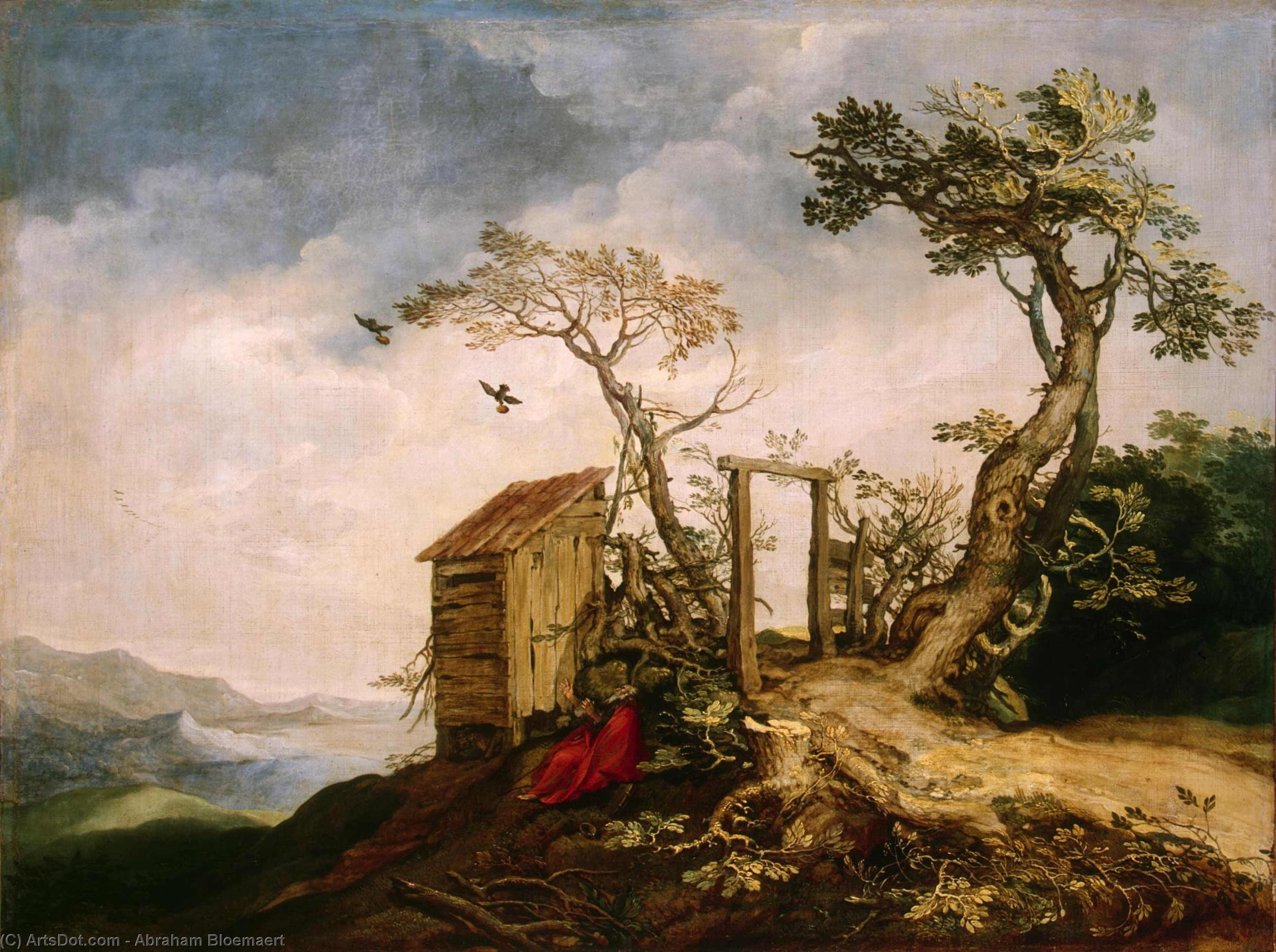 Landscape with the Prophet Elijah in the Desert, Oil On Canvas by Abraham Bloemaert (1564-1651, Netherlands)