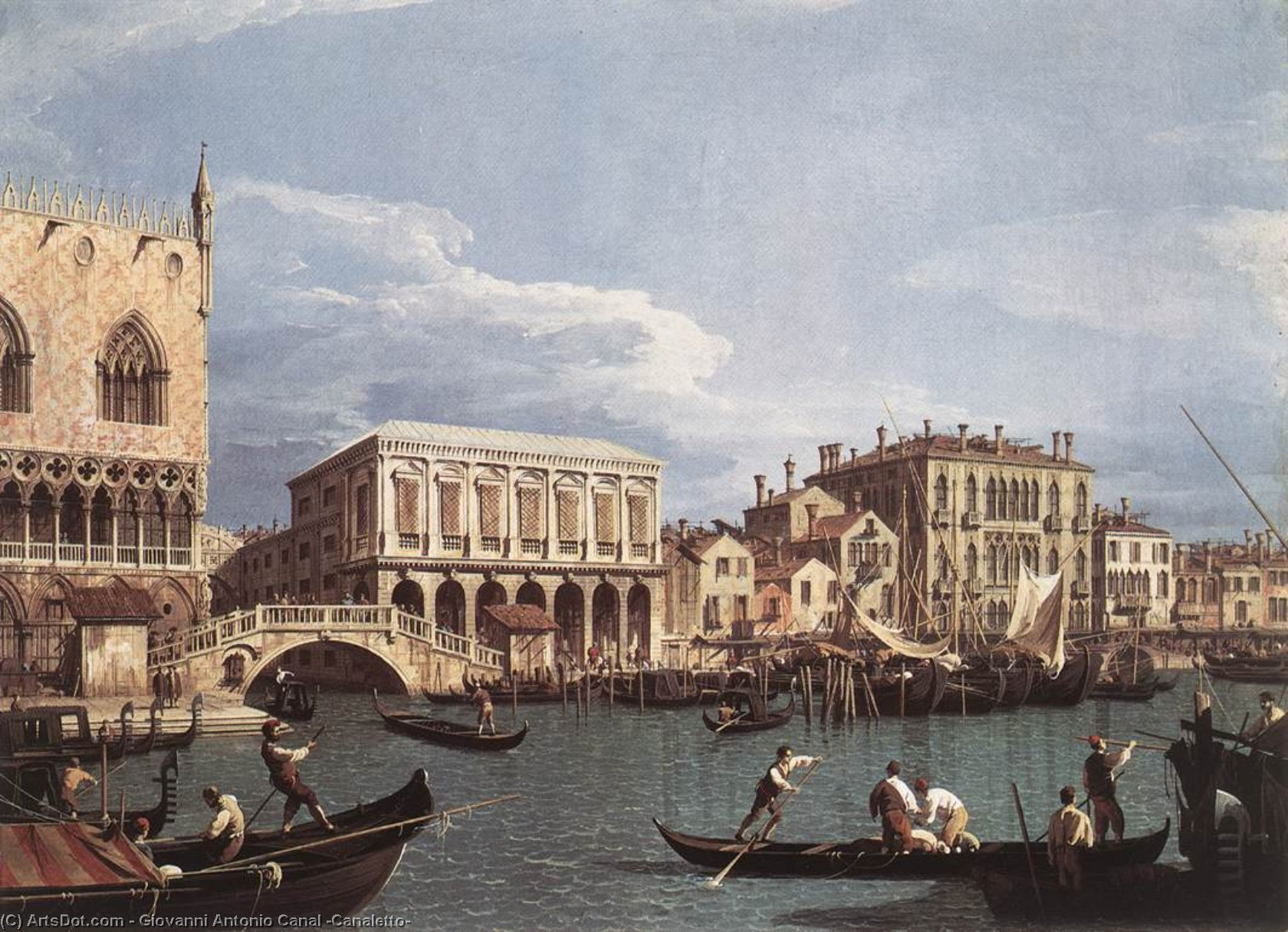 The Molo and the Riva degli Schiavoni from the Bacino di San Marco, 1740 by Giovanni Antonio Canal (Canaletto) (1730-1768, Italy) | Reproductions Giovanni Antonio Canal (Canaletto) | ArtsDot.com