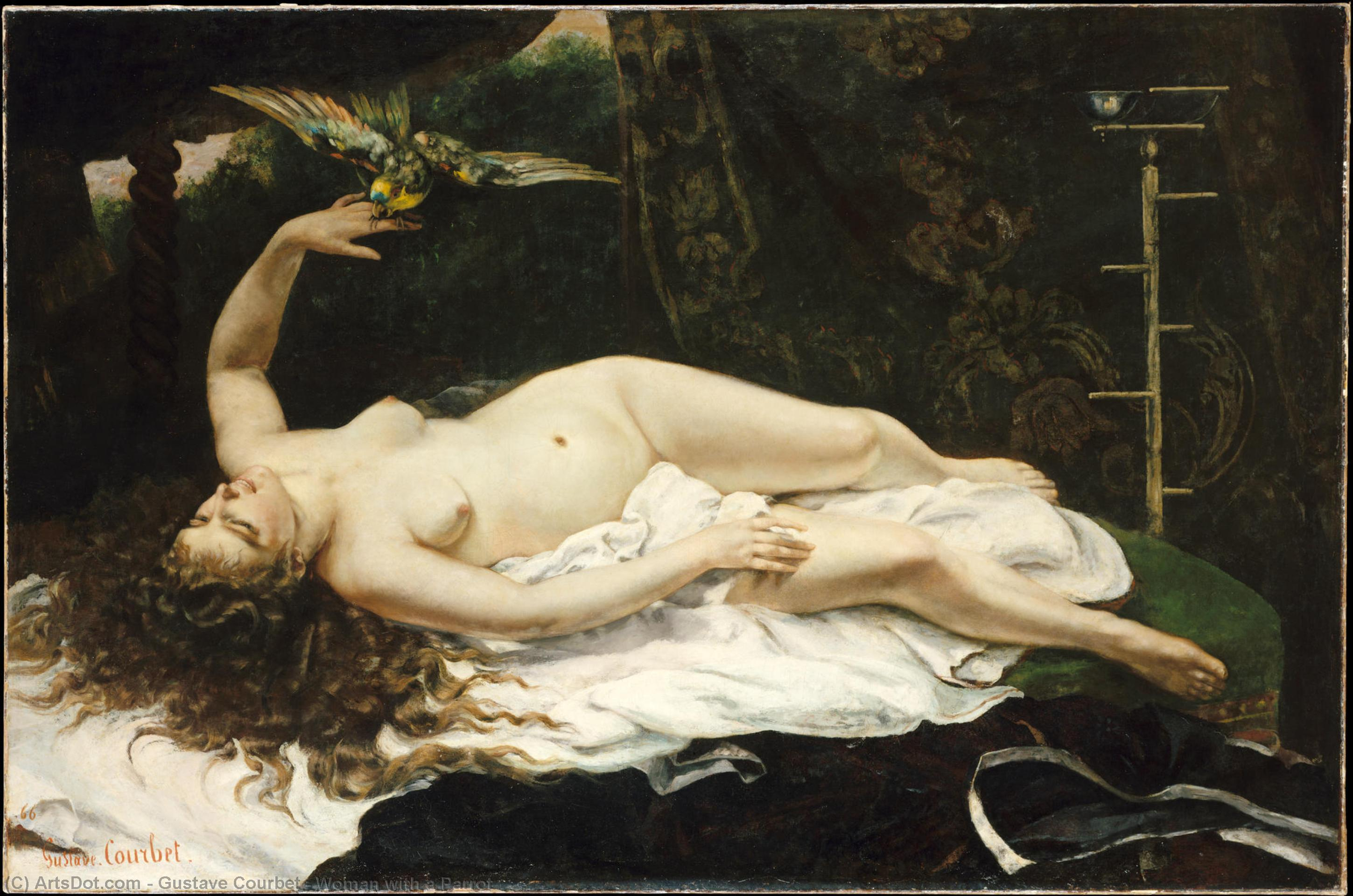 Order Painting Copy : Woman with a Parrot, 1866 by Gustave Courbet (1819-1877, France) | ArtsDot.com