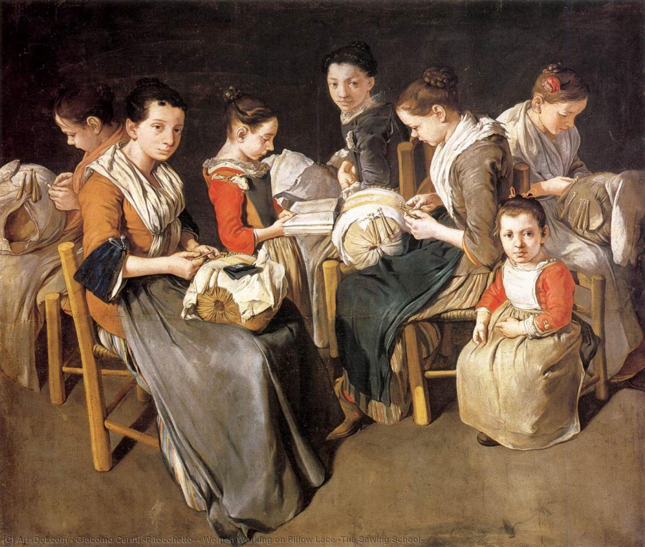 Women Working on Pillow Lace (The Sewing School), 1720 by Giacomo Ceruti (Pitocchetto) (1698-1767, Italy) | Oil Painting | ArtsDot.com