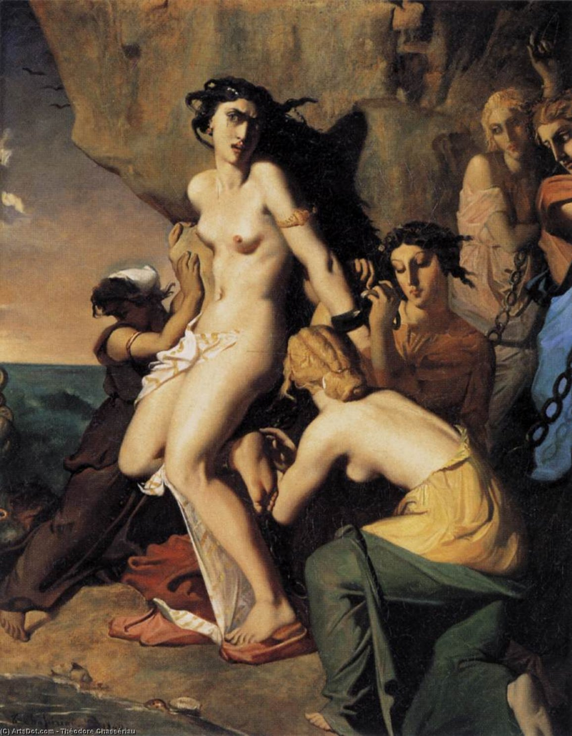 Order Oil Painting : Andromeda and the Nereids, 1840 by Théodore Chassériau (1819-1856, Dominican Republic) | ArtsDot.com