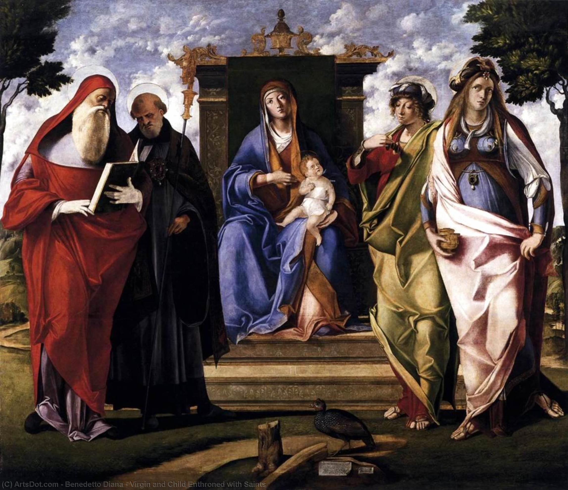 Virgin and Child Enthroned with Saints, 1515 by Benedetto Diana (1460-1525, Italy) | Painting Copy | ArtsDot.com