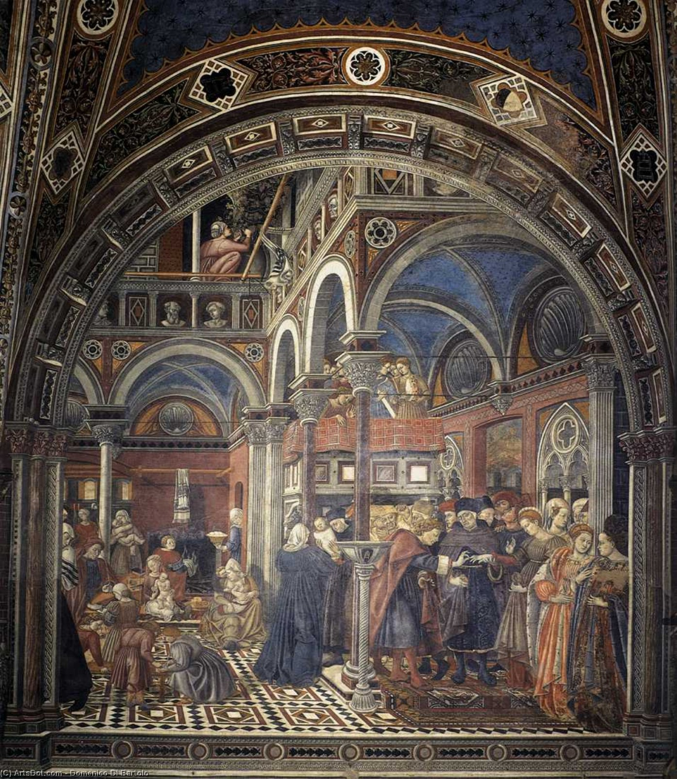 The Rearing and Marriage of Female Foundlings, Frescoes by Domenico Di Bartolo (1400-1445, Italy)