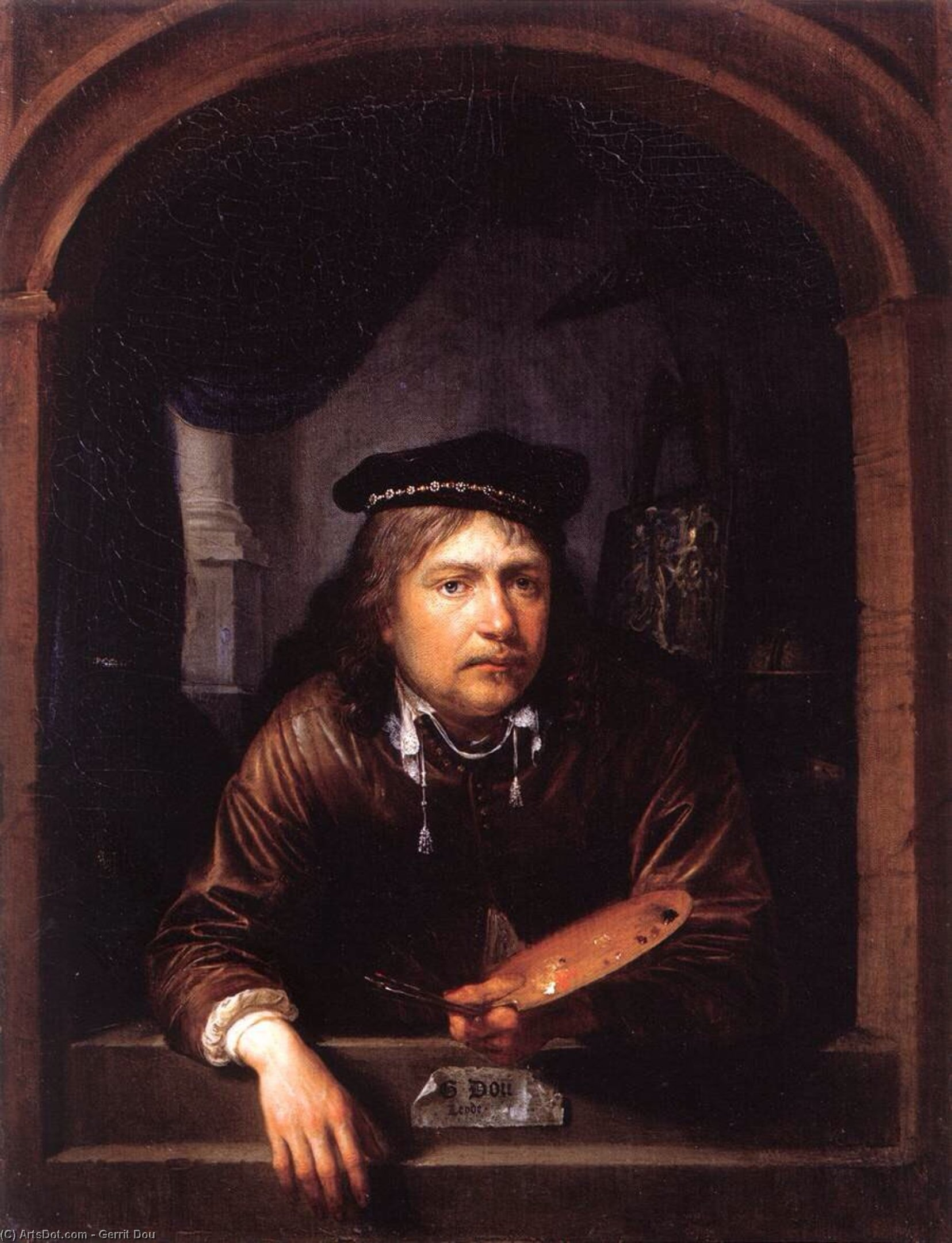 Self-Portrait in a Window, Oil by Gerrit (Gérard) Dou (1613-1675, Netherlands)