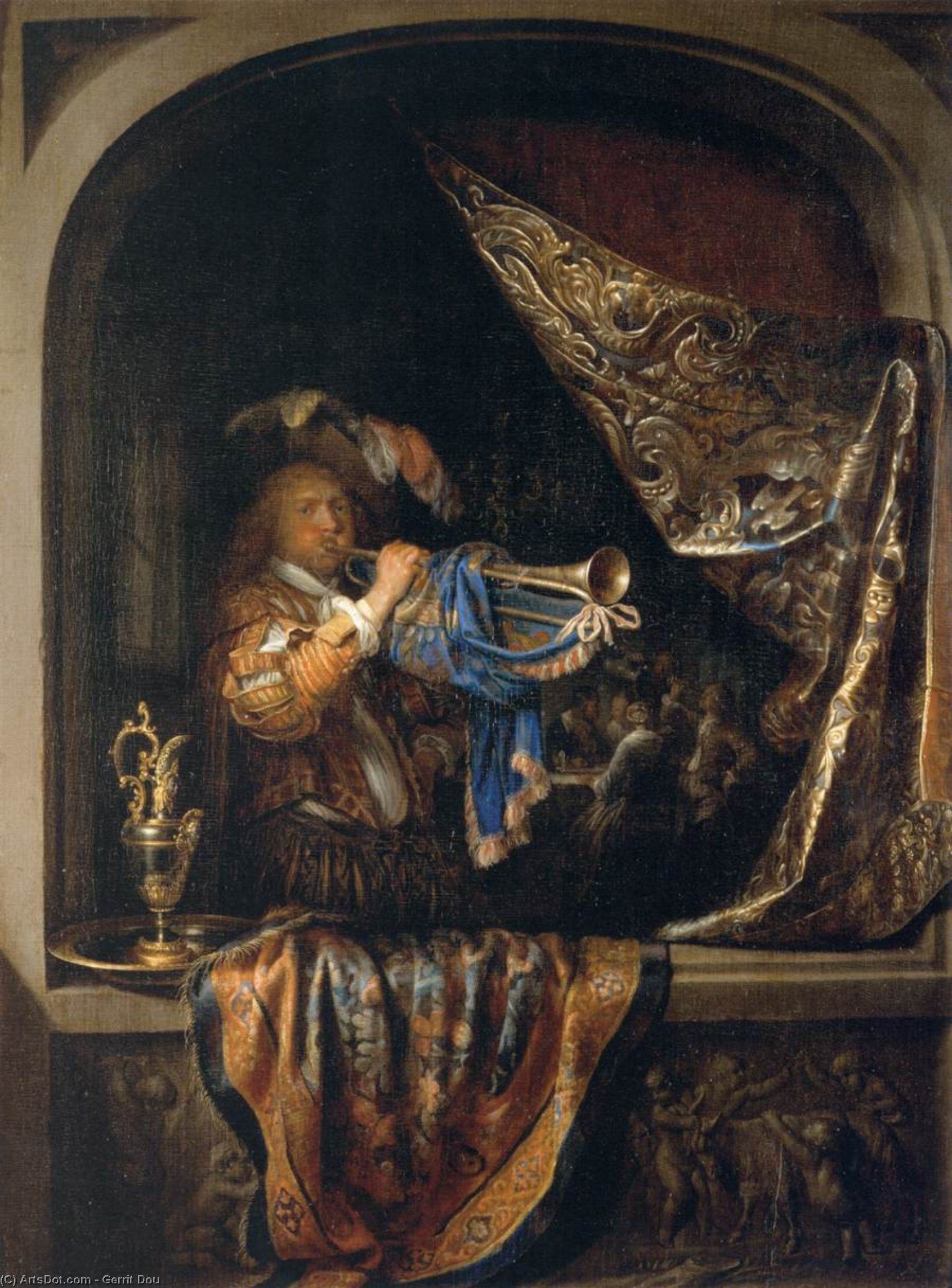 Trumpet-Player in front of a Banquet, Oil by Gerrit (Gérard) Dou (1613-1675, Netherlands)