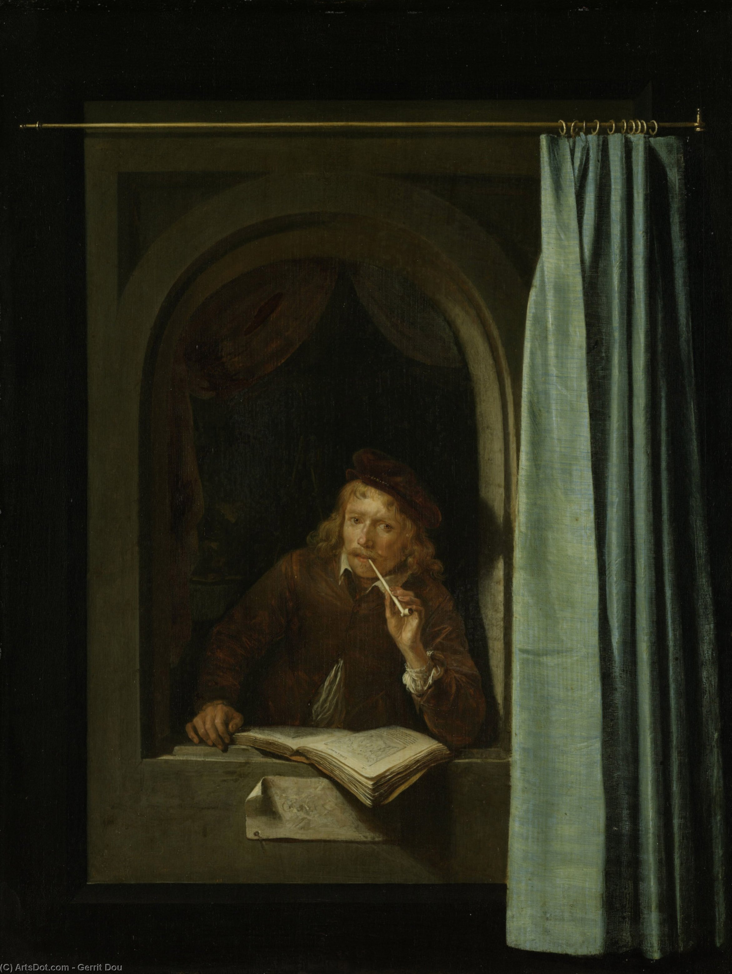 Self-Portrait, Oil On Panel by Gerrit (Gérard) Dou (1613-1675, Netherlands)