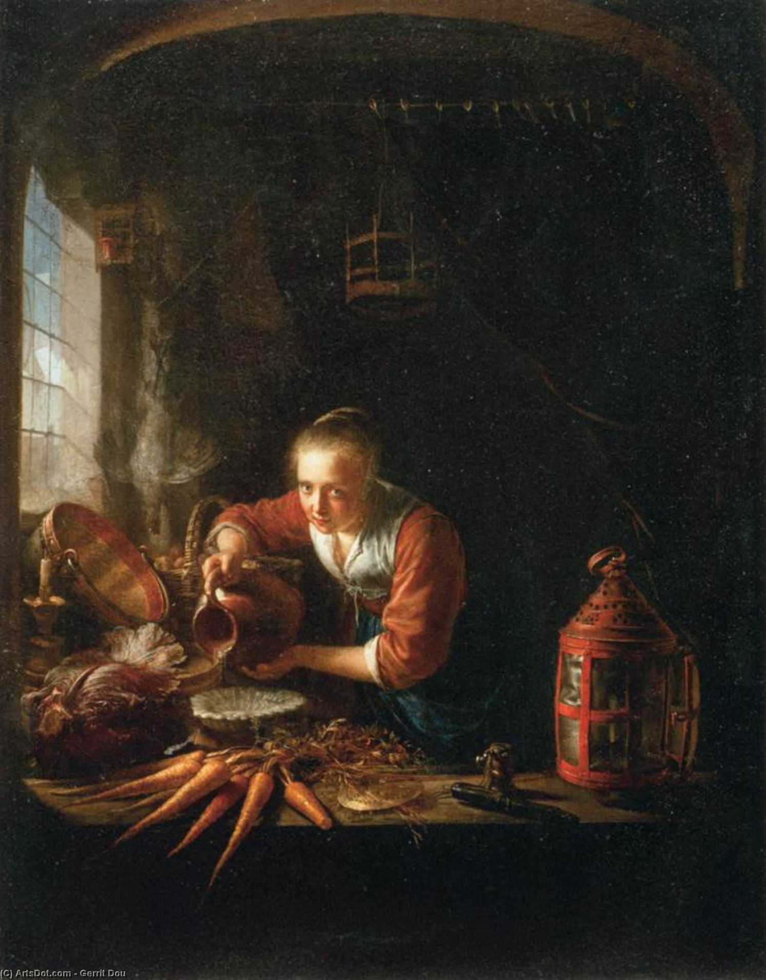 Woman Pouring Water into a Jar, Oil by Gerrit (Gérard) Dou (1613-1675, Netherlands)