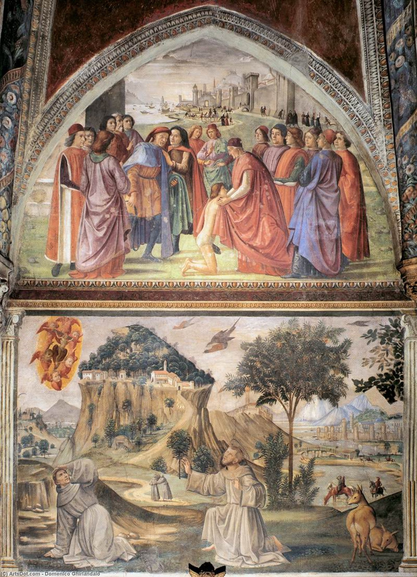 Left wall of the Sassetti Chapel  (order Fine Art painting copy Domenico Ghirlandaio)