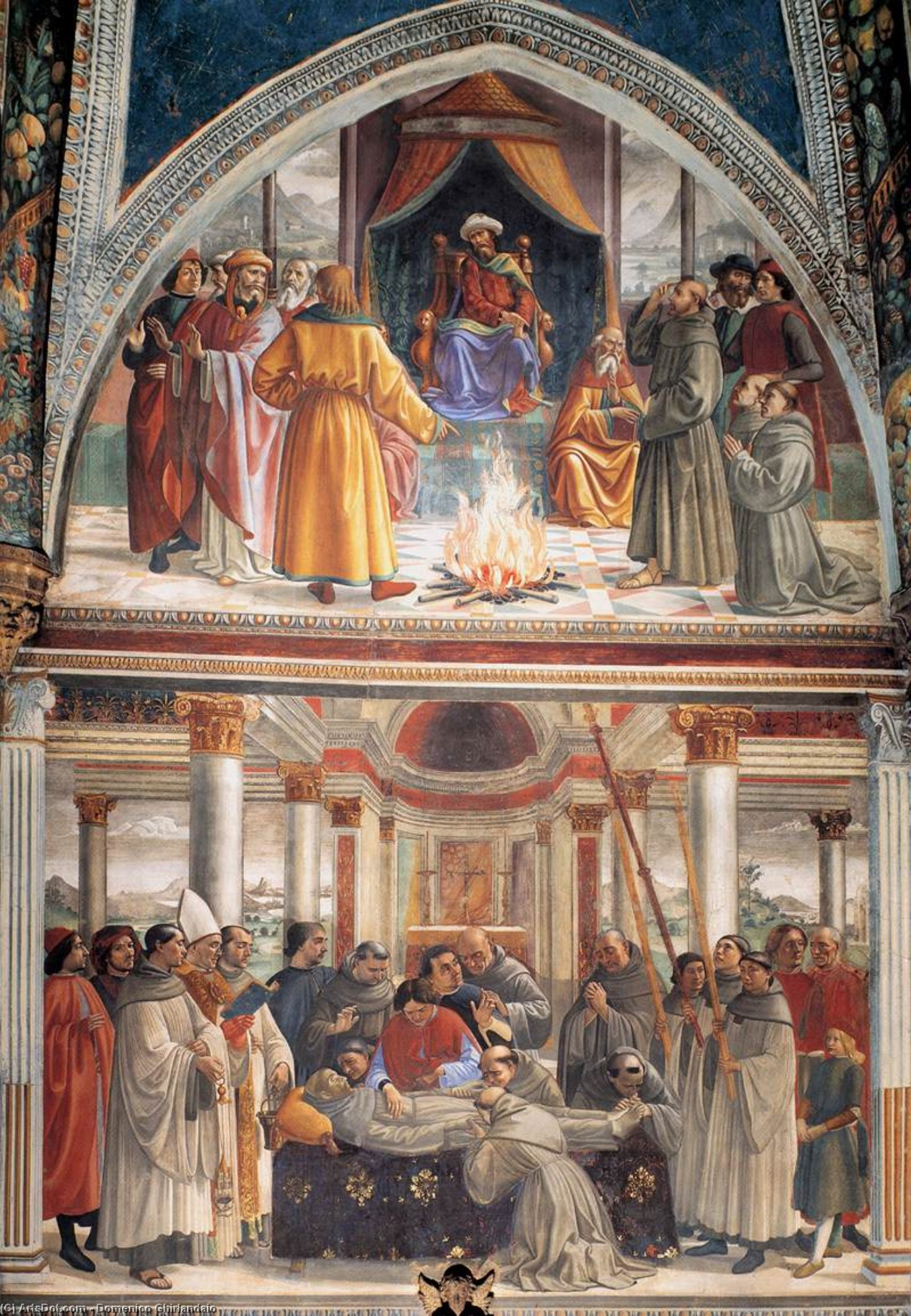 Buy Museum Art Reproductions : Right wall of the Sassetti Chapel (detail), 1483 by Domenico Ghirlandaio (1449-1494, Italy) | ArtsDot.com