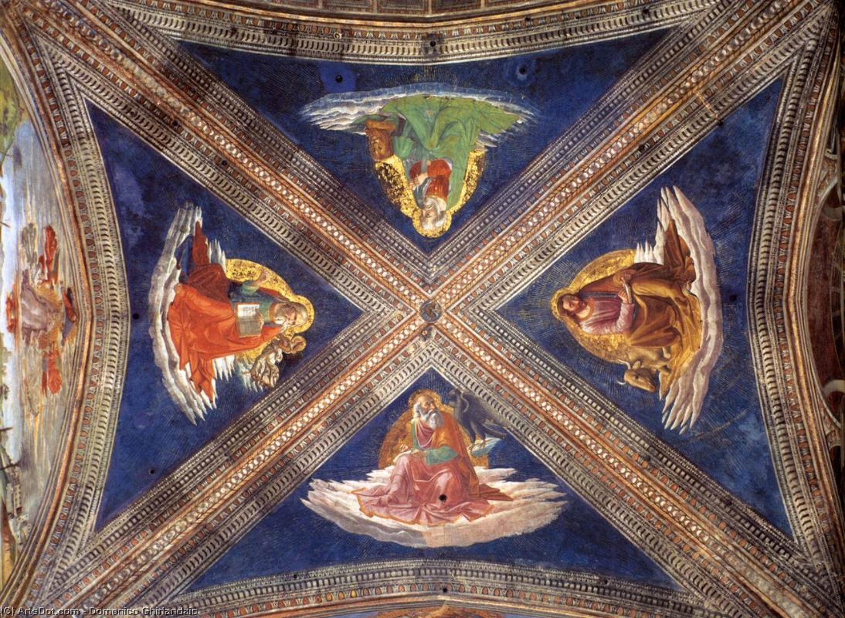 Vaulting of the Tornabuoni Chapel, Frescoes by Domenico Ghirlandaio (1449-1494, Italy)
