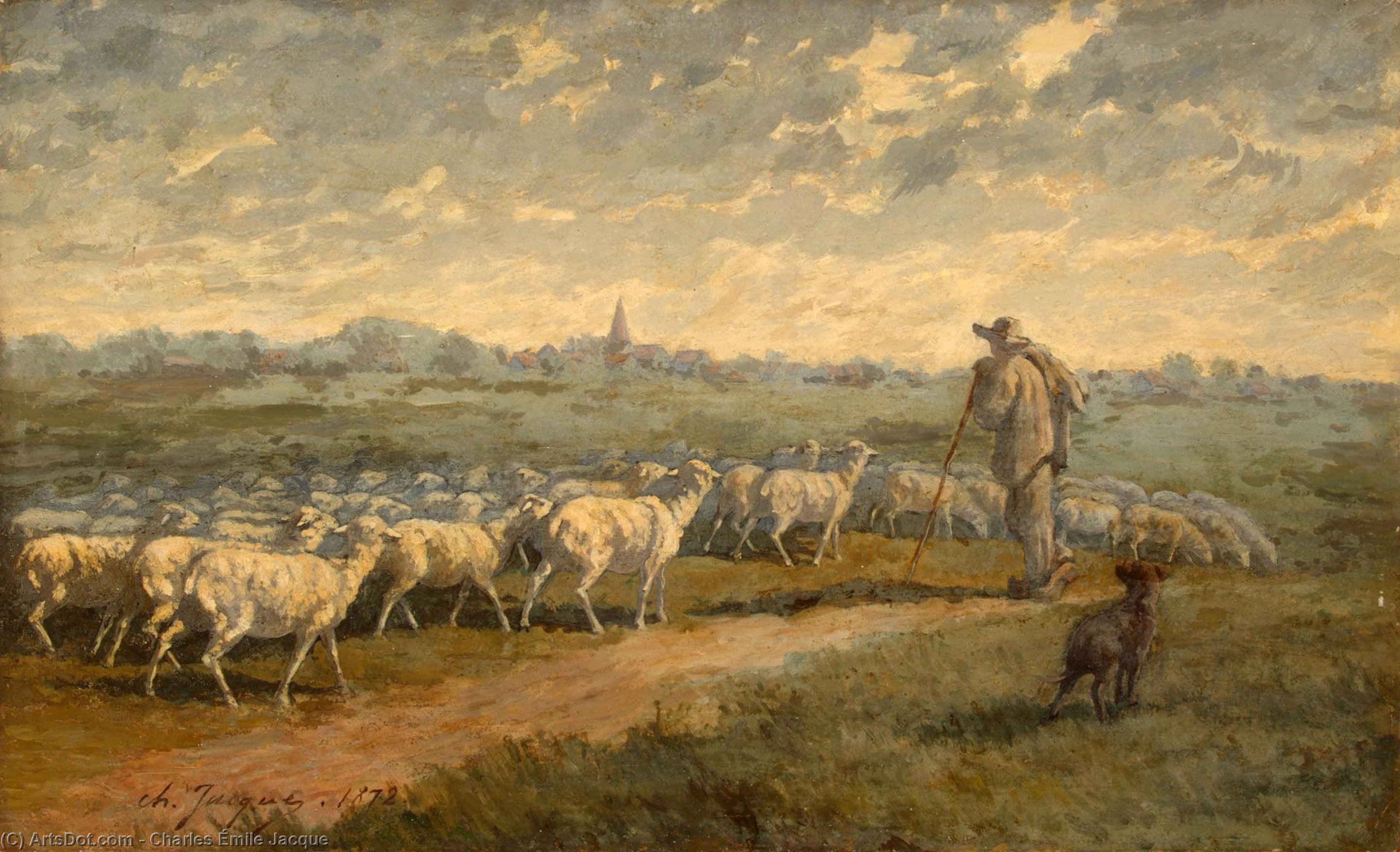 Landscape with a Herd, Oil by Charles Émile Jacque (1813-1894, France)
