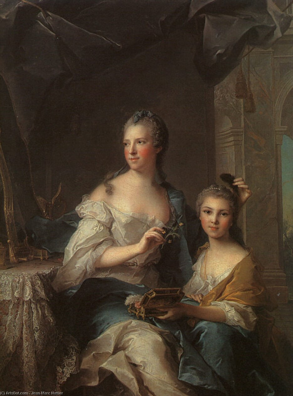 Madame Marsollier and her Daughter, 1749 by Jean-Marc Nattier (1685-1766, France) | Museum Art Reproductions Jean-Marc Nattier | ArtsDot.com