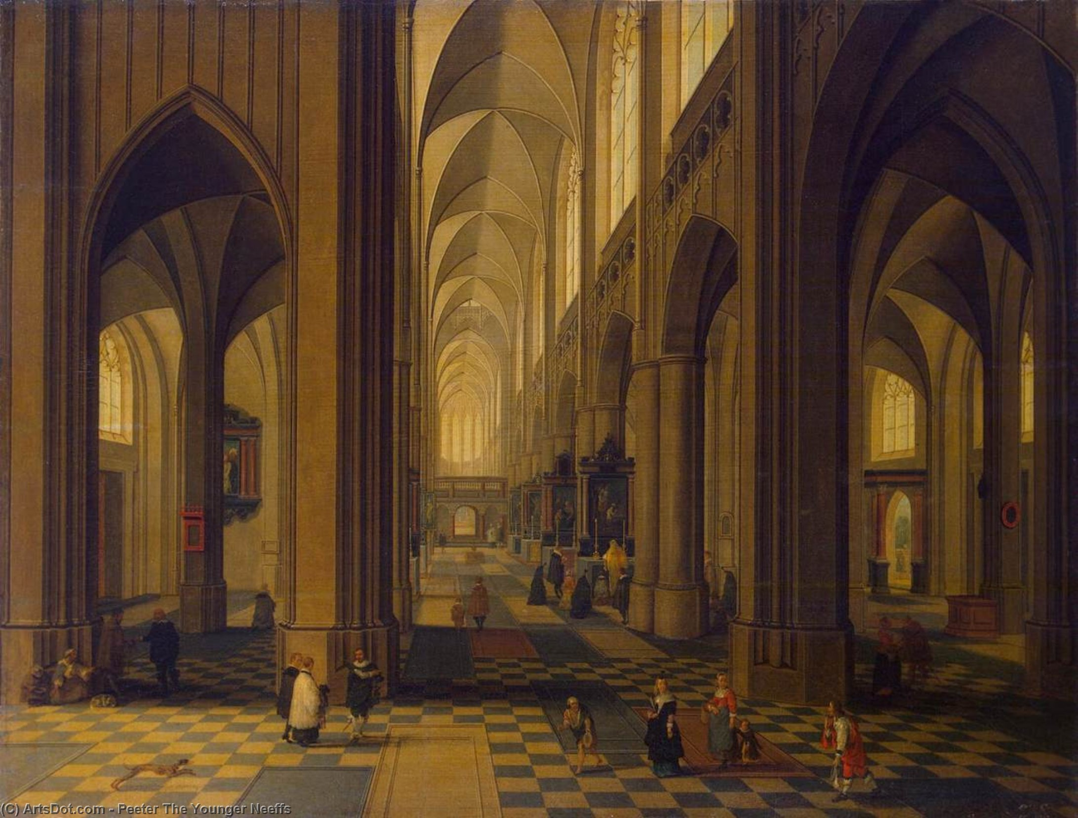 Interior of the Antwerp Cathedral, 1660 by Peeter Neeffs The Younger (1620-1675, Belgium) | Museum Quality Reproductions | ArtsDot.com