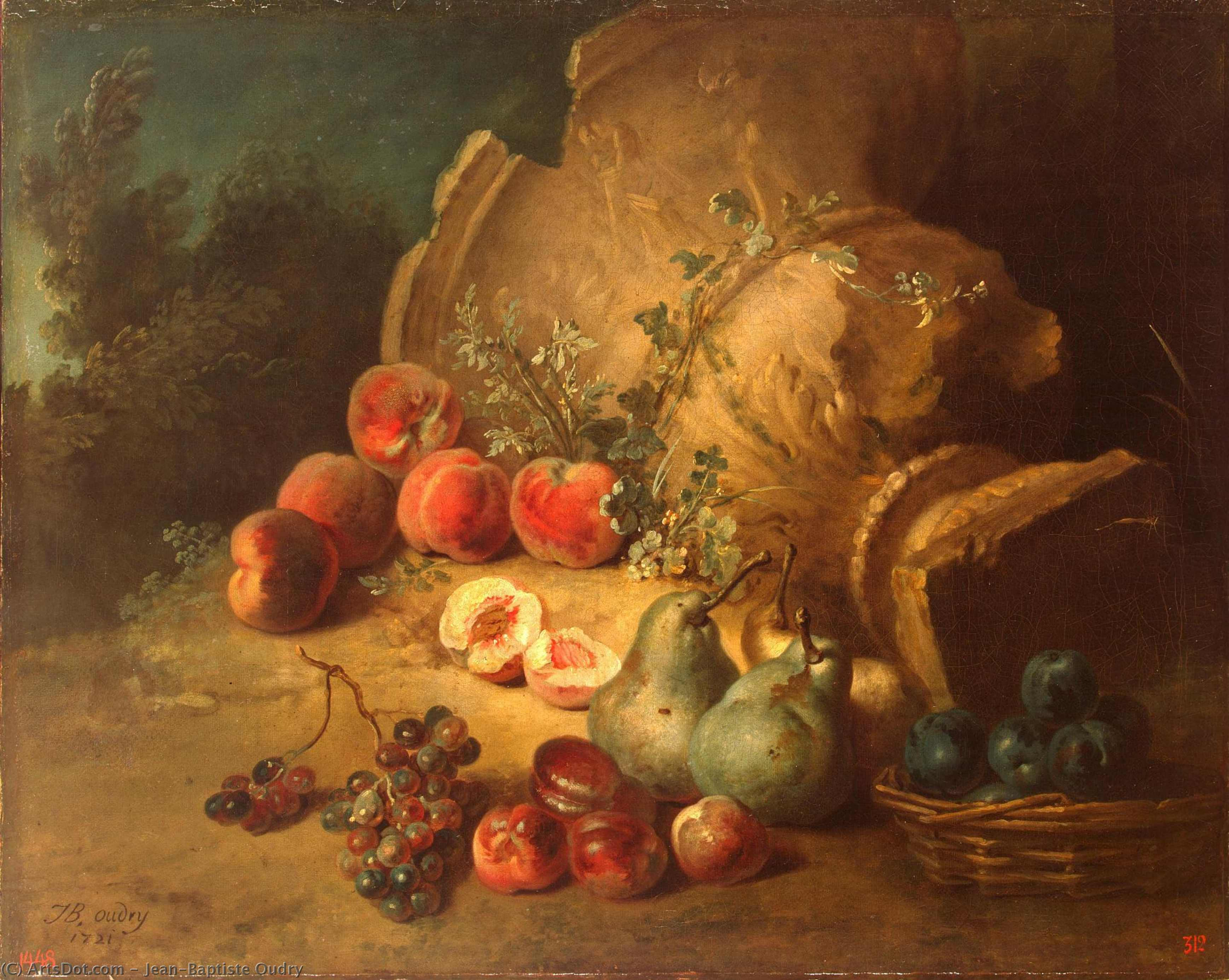 Still-Life with Fruit, Oil On Canvas by Jean-Baptiste Oudry (1686-1755, France)