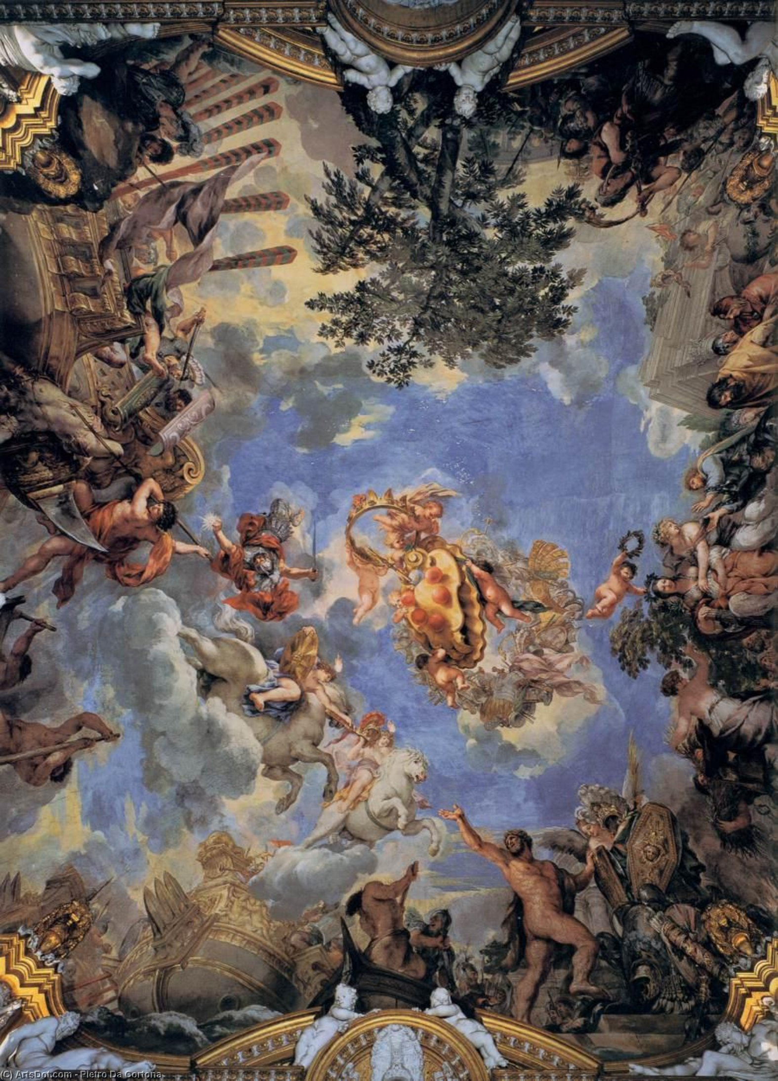 Ceiling fresco with Medici coat-of-arms, Frescoes by Pietro Da Cortona (1596-1669, Italy)