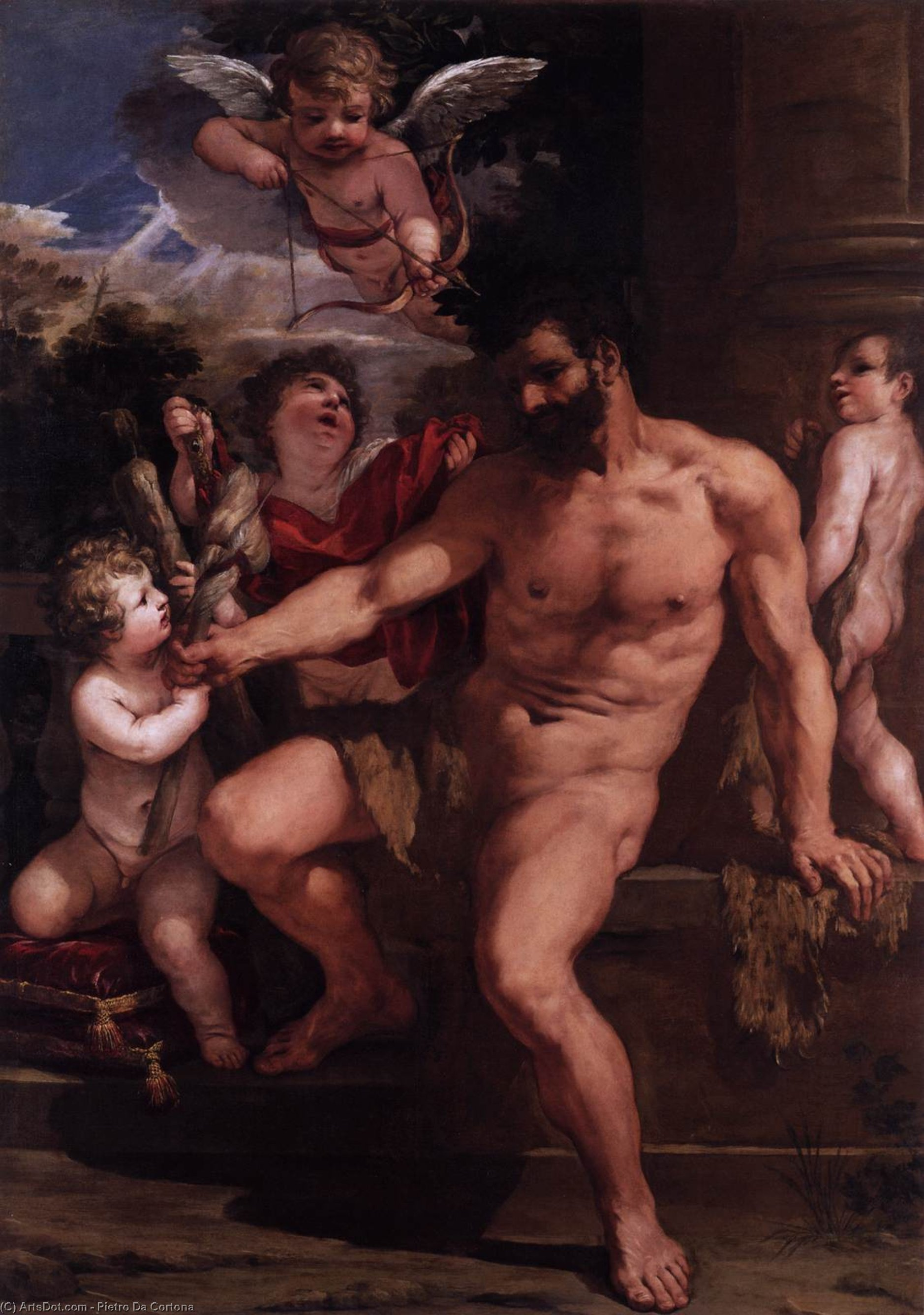 The Punishment of Hercules, Oil On Canvas by Pietro Da Cortona (1596-1669, Italy)